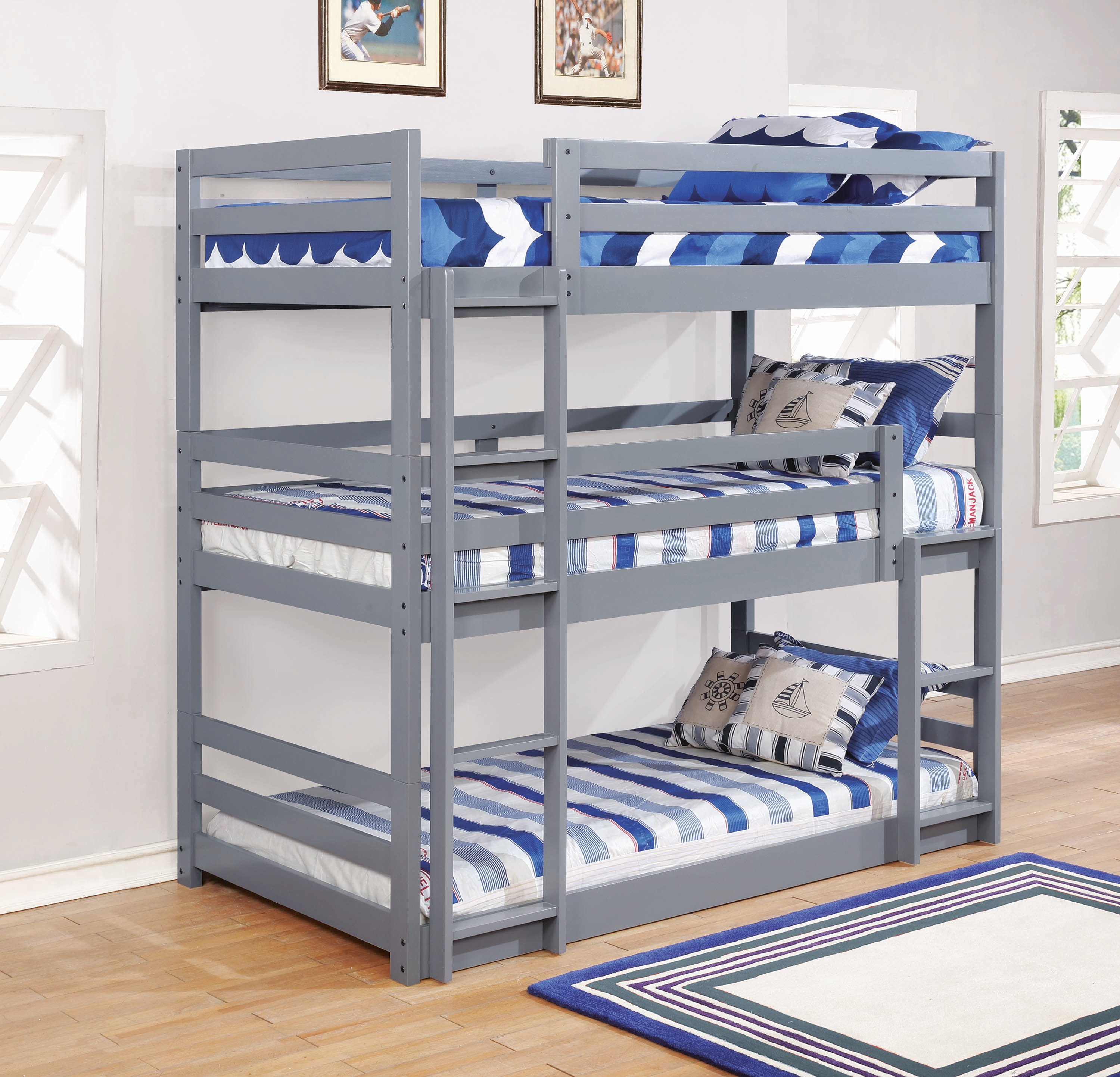 Picture of: Sandler Grey Twin Triple Bunk Bed By Coaster