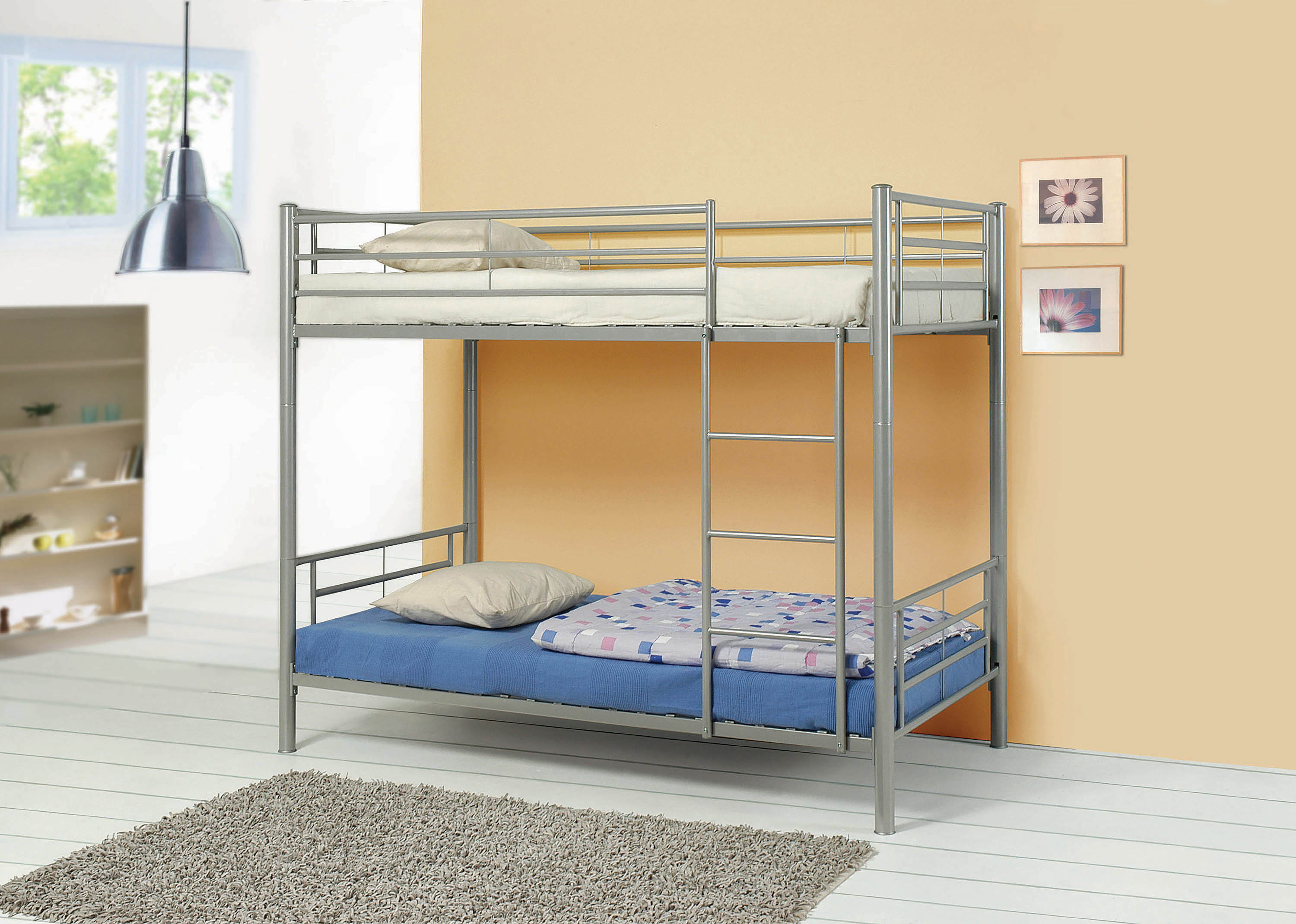 Image result for metal bunk bed twin over twin