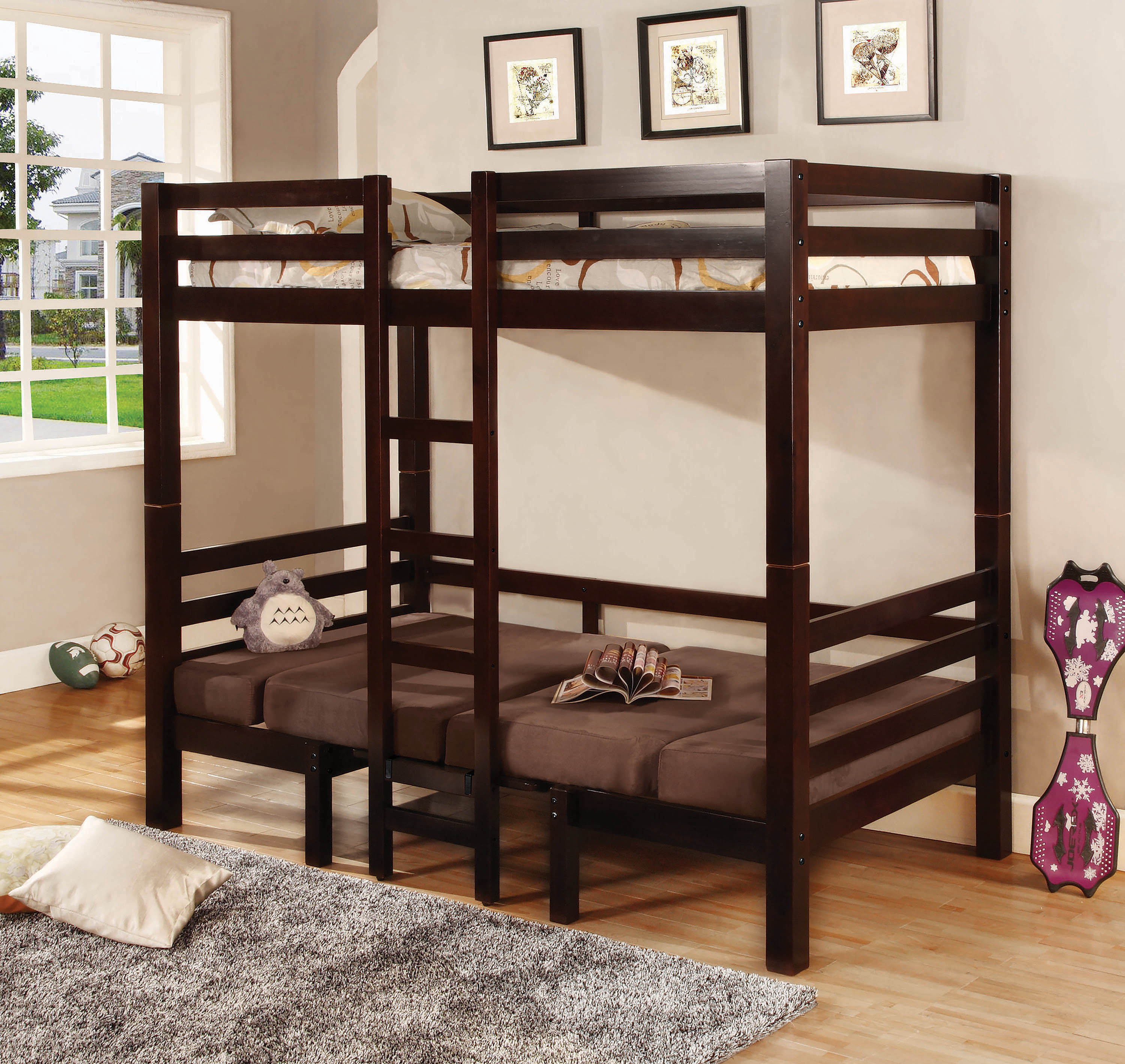 Picture of: Joaquin Transitional Medium Brown Twin Over Twin Bunk Bed By Coaster