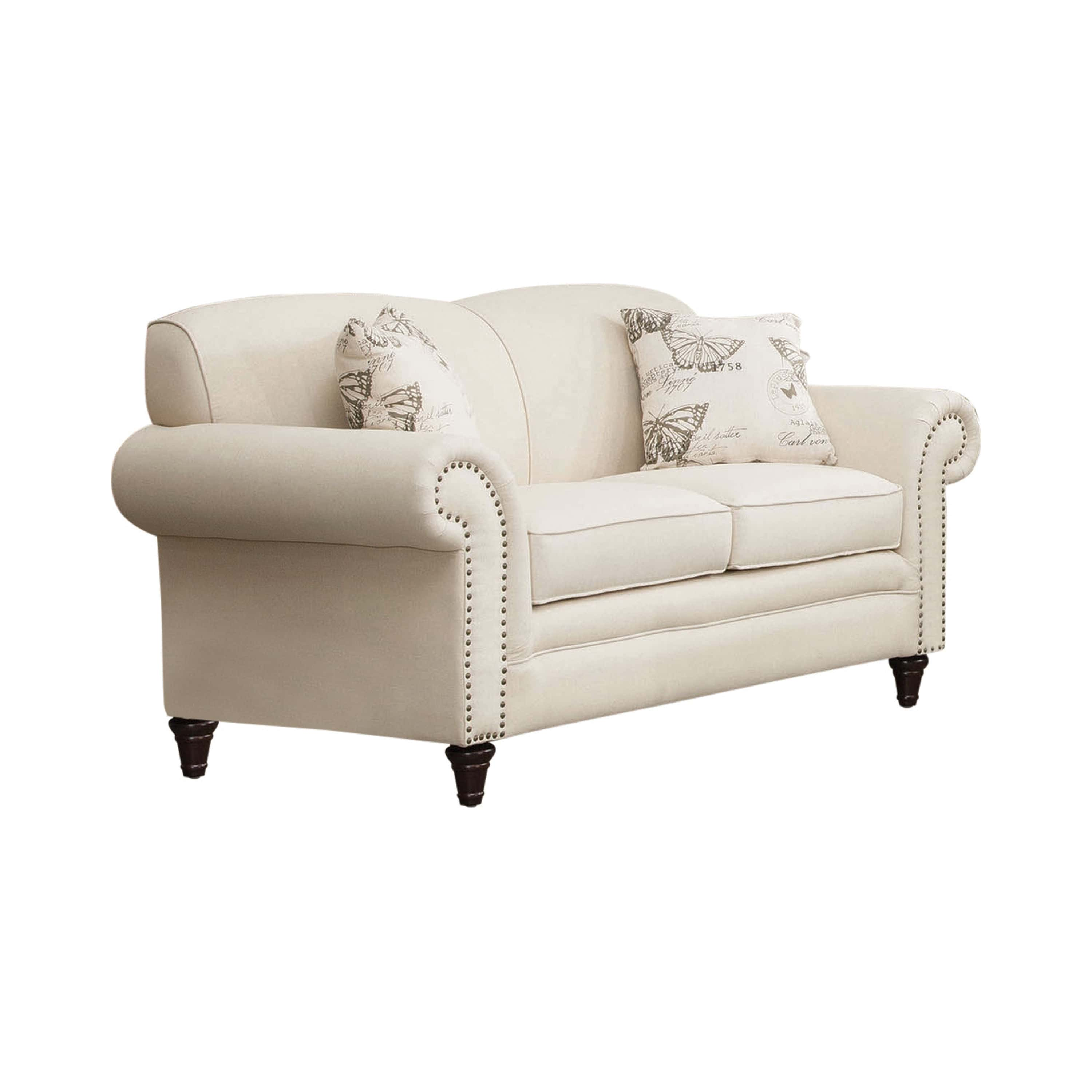 Norah Oatmeal Upholstered Loveseat By Coaster