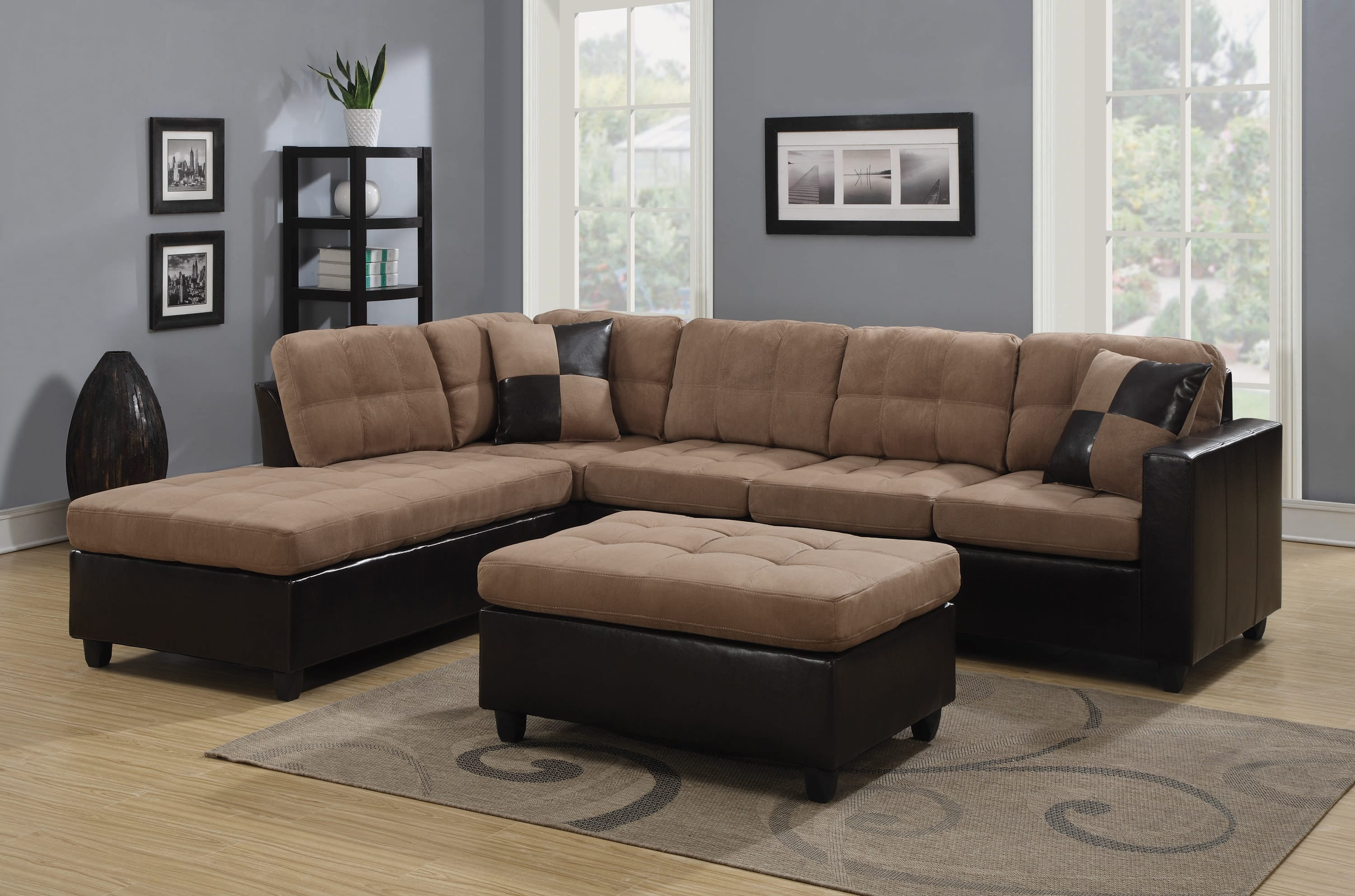 Mallory Upholstered Tan & Dark Brown Sectional Sofa by Coaster Fine  Furniture