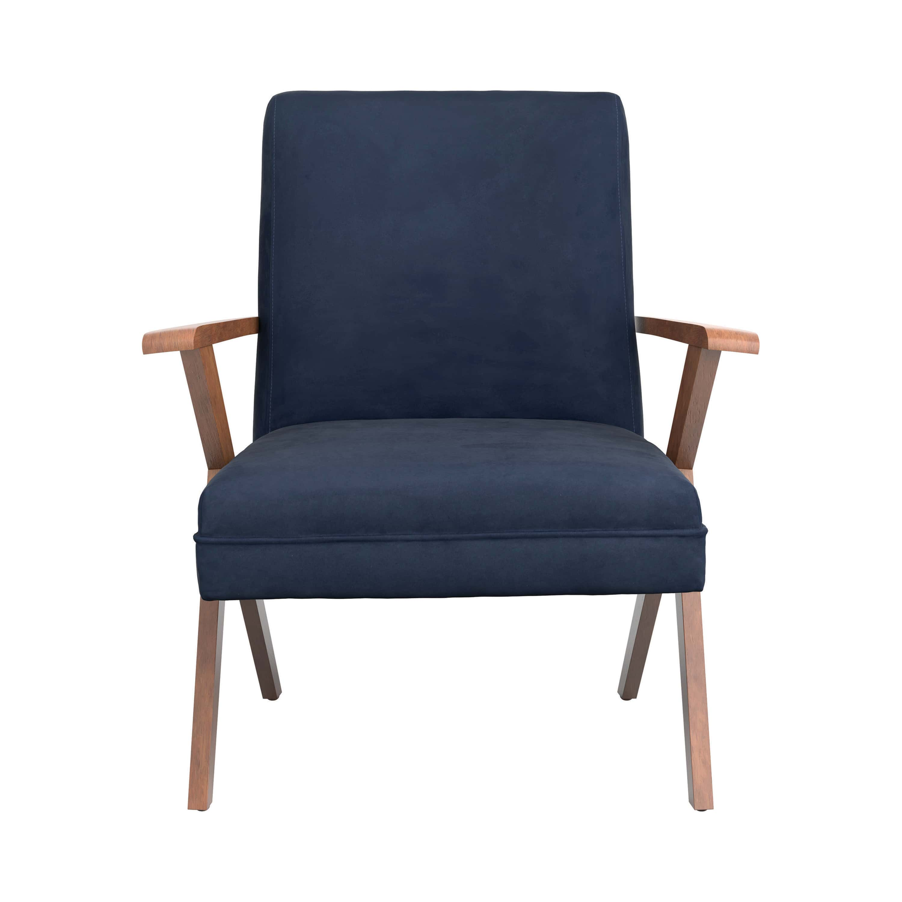 Picture of: Monrovia Dark Blue Walnut Wooden Arms Accent Chair By Coaster