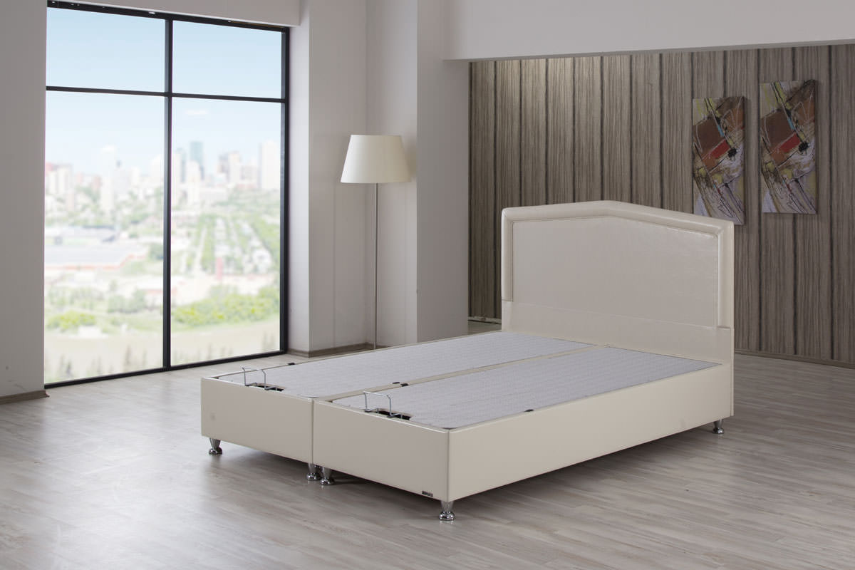 Casa Rest Platform Bed w/Headboard Dragon Cream Leather ...
