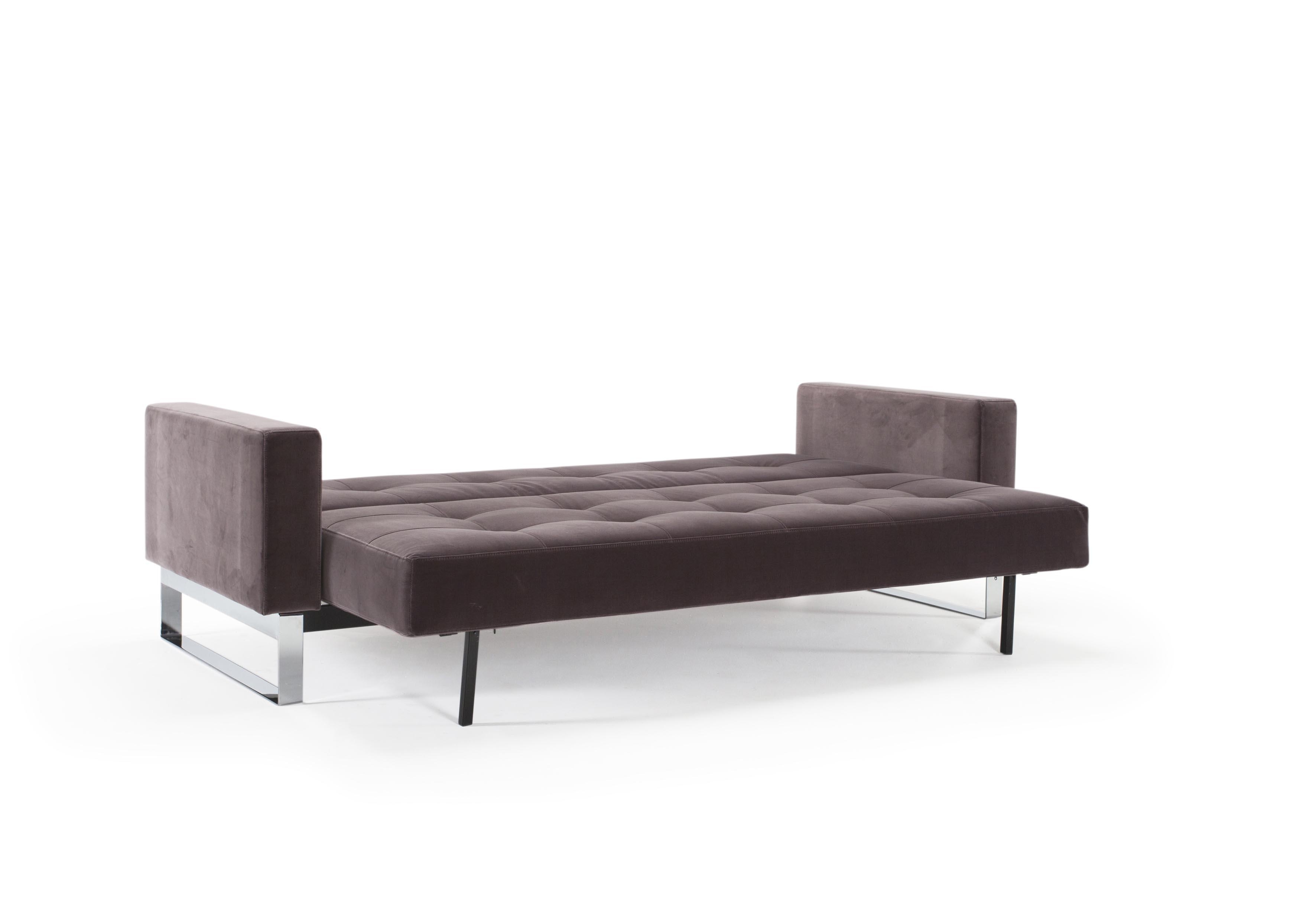 Cassius Velvet Sofa Bed Full Size Vintage Velvet Mauve by Innovation
