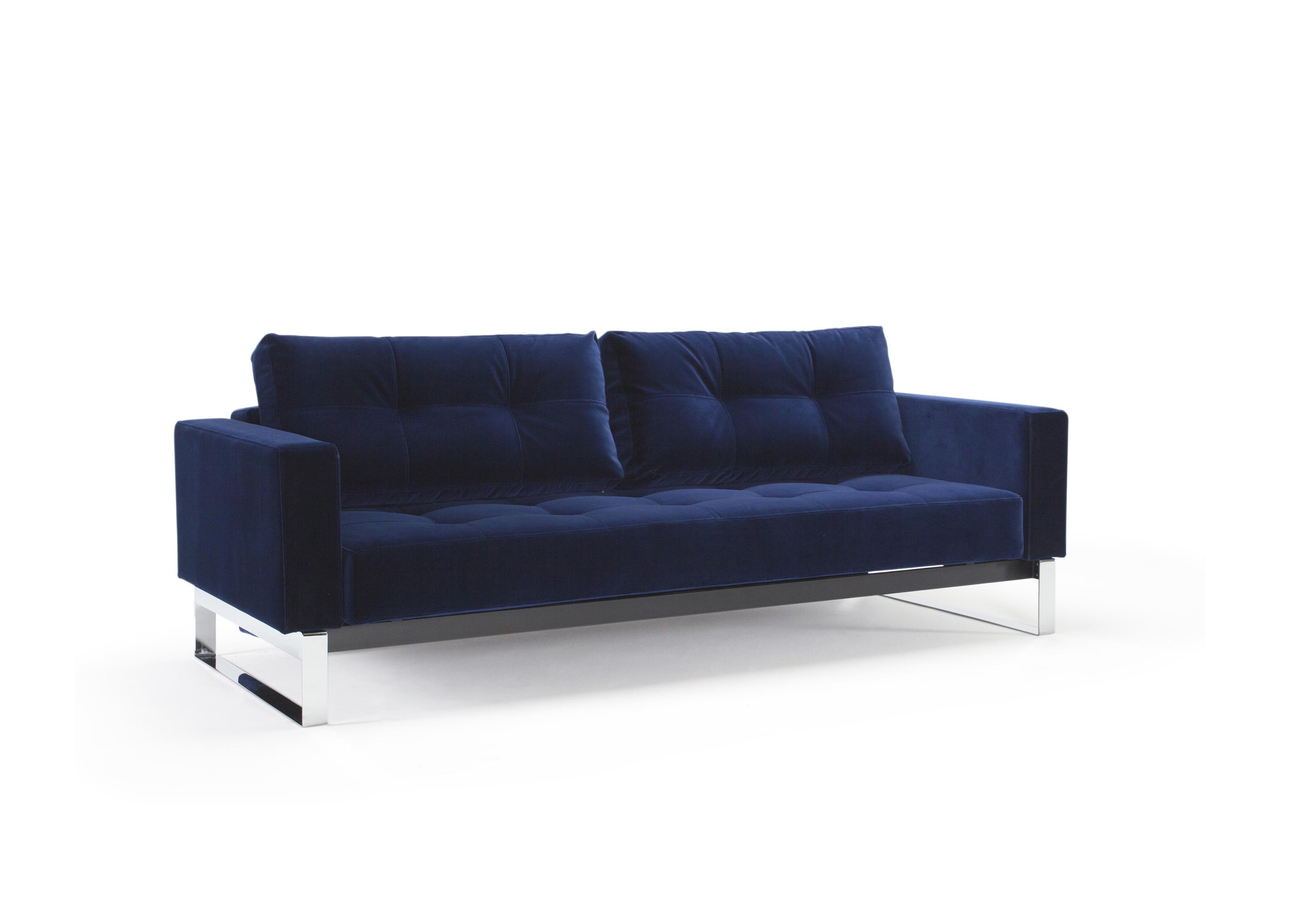 Cassius Velvet Sofa Bed Full Size Vintage Velvet Blue By