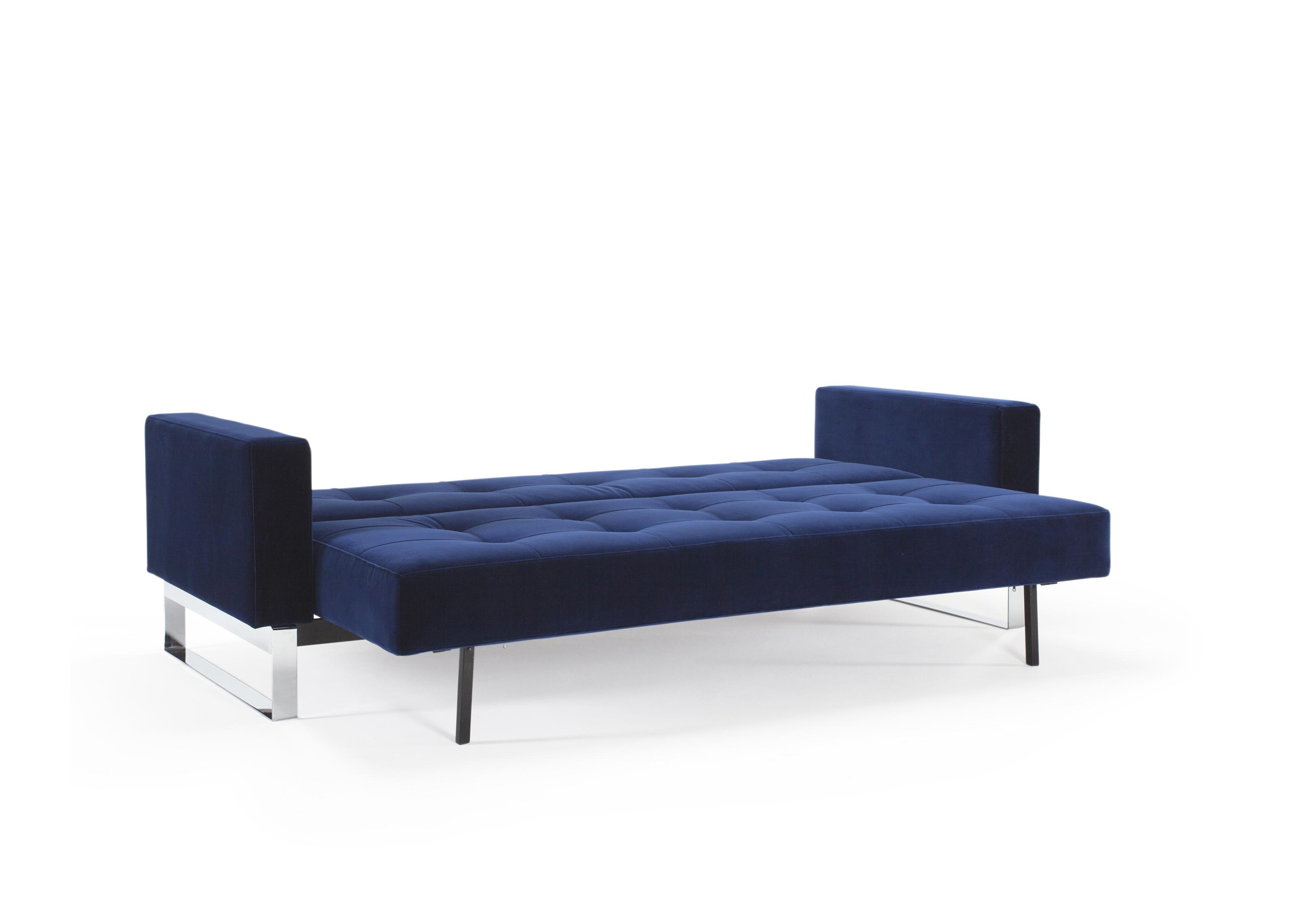 Cassius velvet sofa bed full size vintage velvet blue by for Complete divan beds