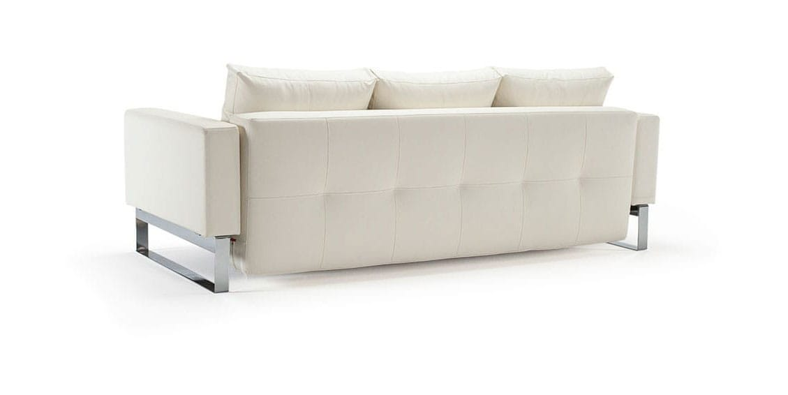 Cassius quilt sofa bed full size white leather textile for White divan bed