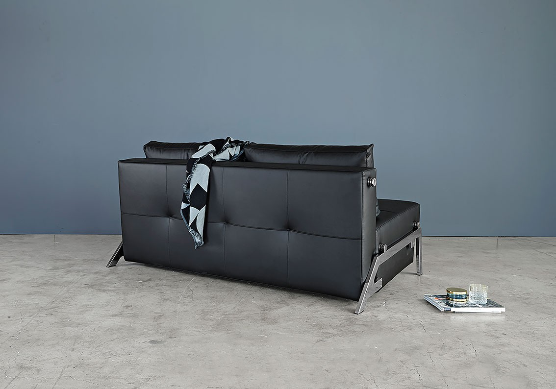 Cubed Deluxe Sofa Bed Full Size Black Leather Textile by Innovation