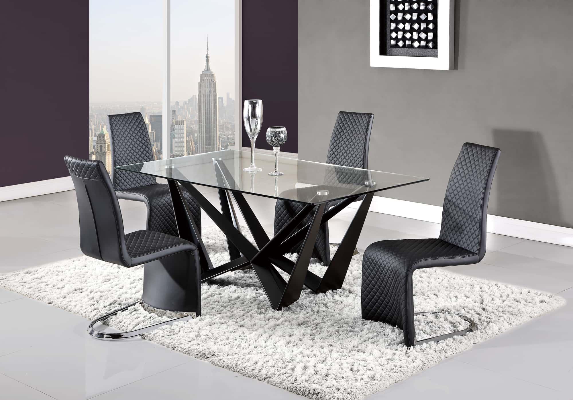 dining table d2003dt bl black by global furniture. Black Bedroom Furniture Sets. Home Design Ideas