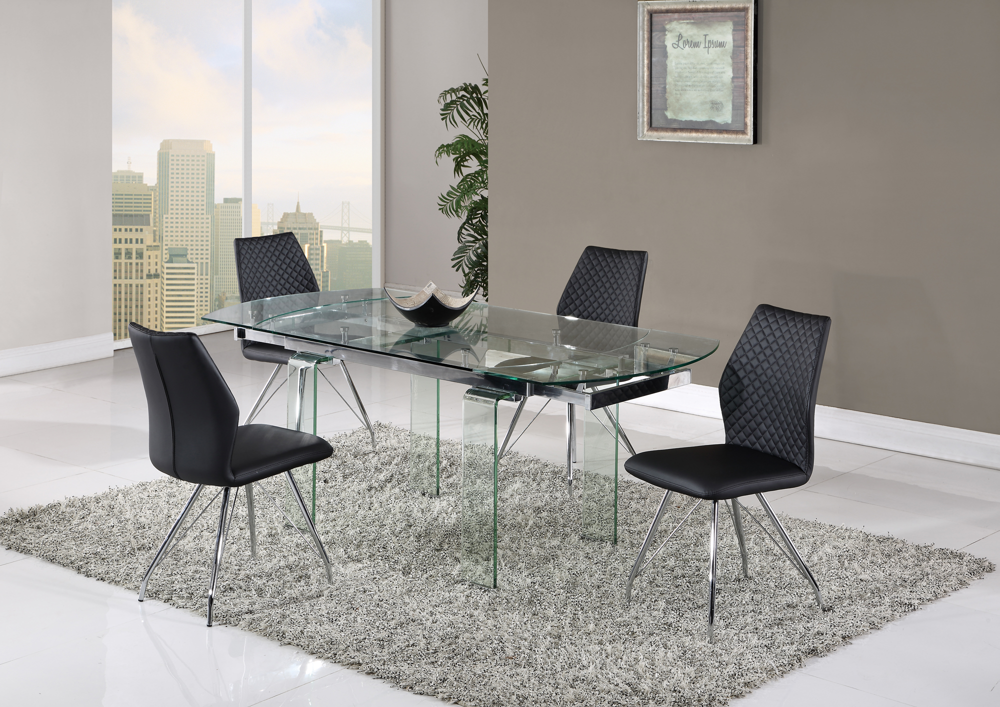 Dining Table D2160DT Clear by Global Furniture : D2160DT D6664DC BL from futonland.com size 2000 x 1414 jpeg 1787kB