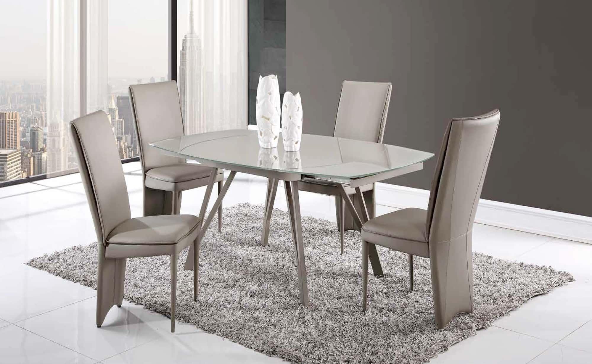 dining table d2177dt champagne glass top by global furniture. Black Bedroom Furniture Sets. Home Design Ideas
