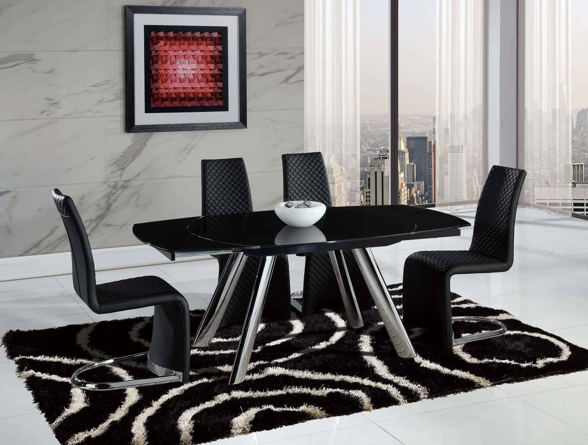 dining table d2320dt chrome/black glass topglobal furniture