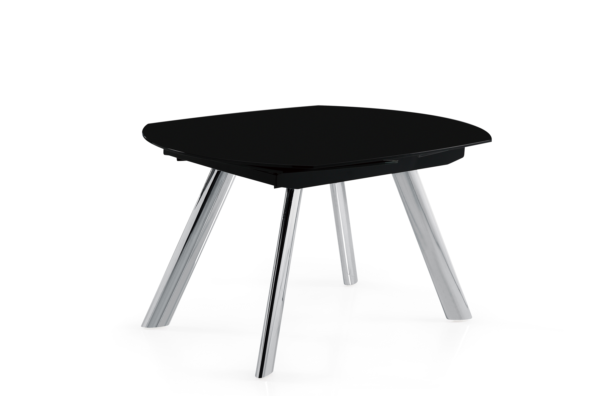 Dining Table D2320DT Chrome Black Glass Top