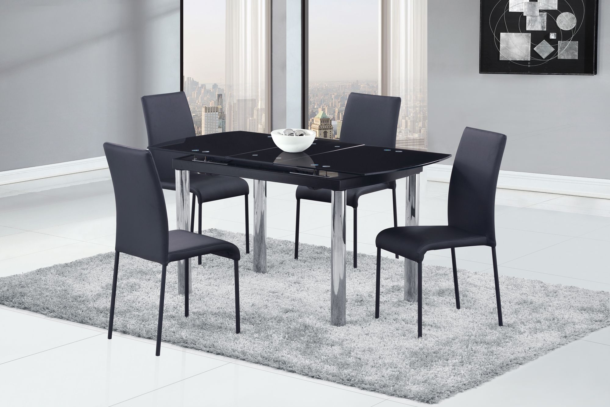 Dining Table D30DT ChromeBlack Glass Top by Global Furniture : D30DTD476DC from futonland.com size 2000 x 1335 jpeg 1367kB