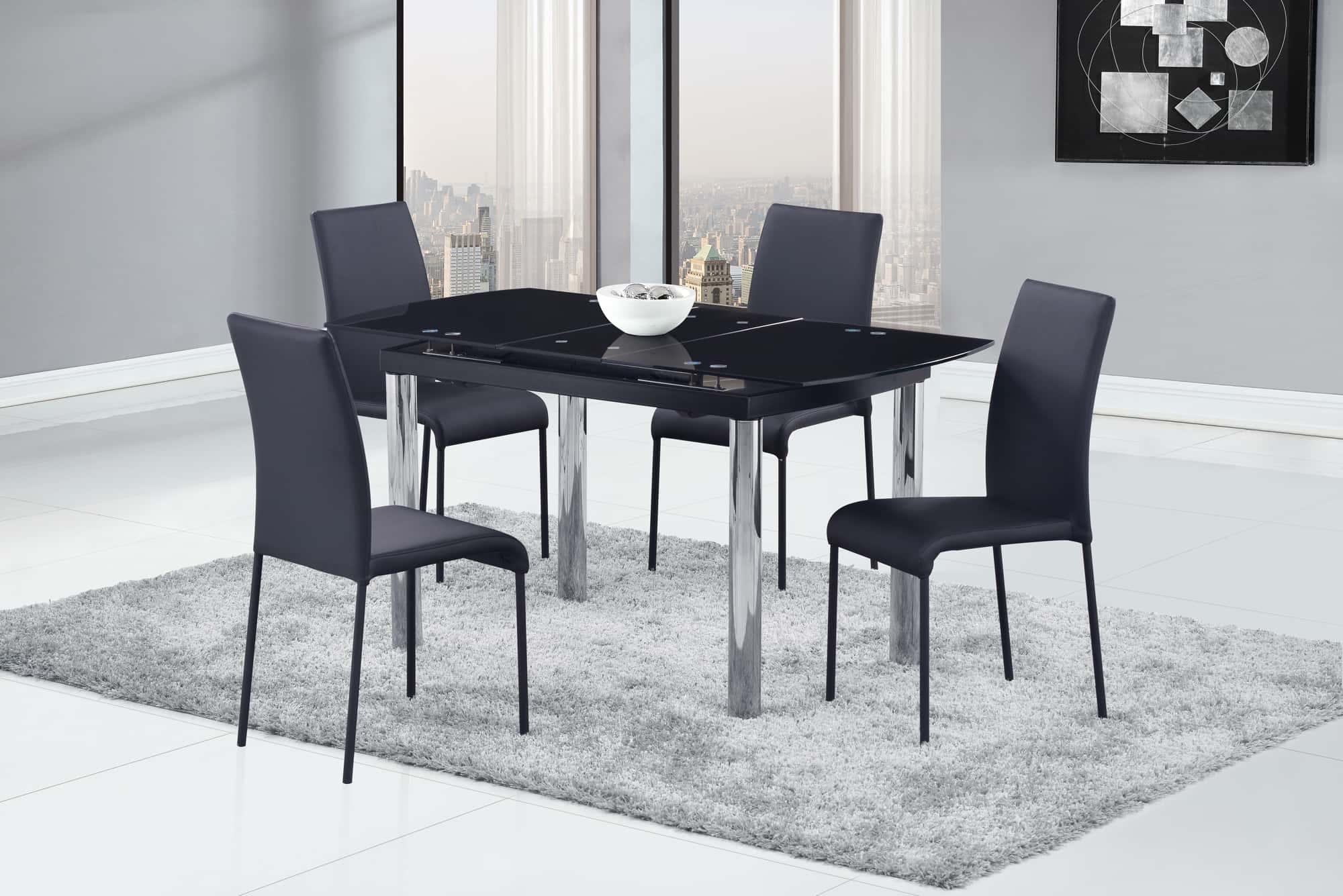 dining table d30dt chrome black glass top by global furniture. Black Bedroom Furniture Sets. Home Design Ideas