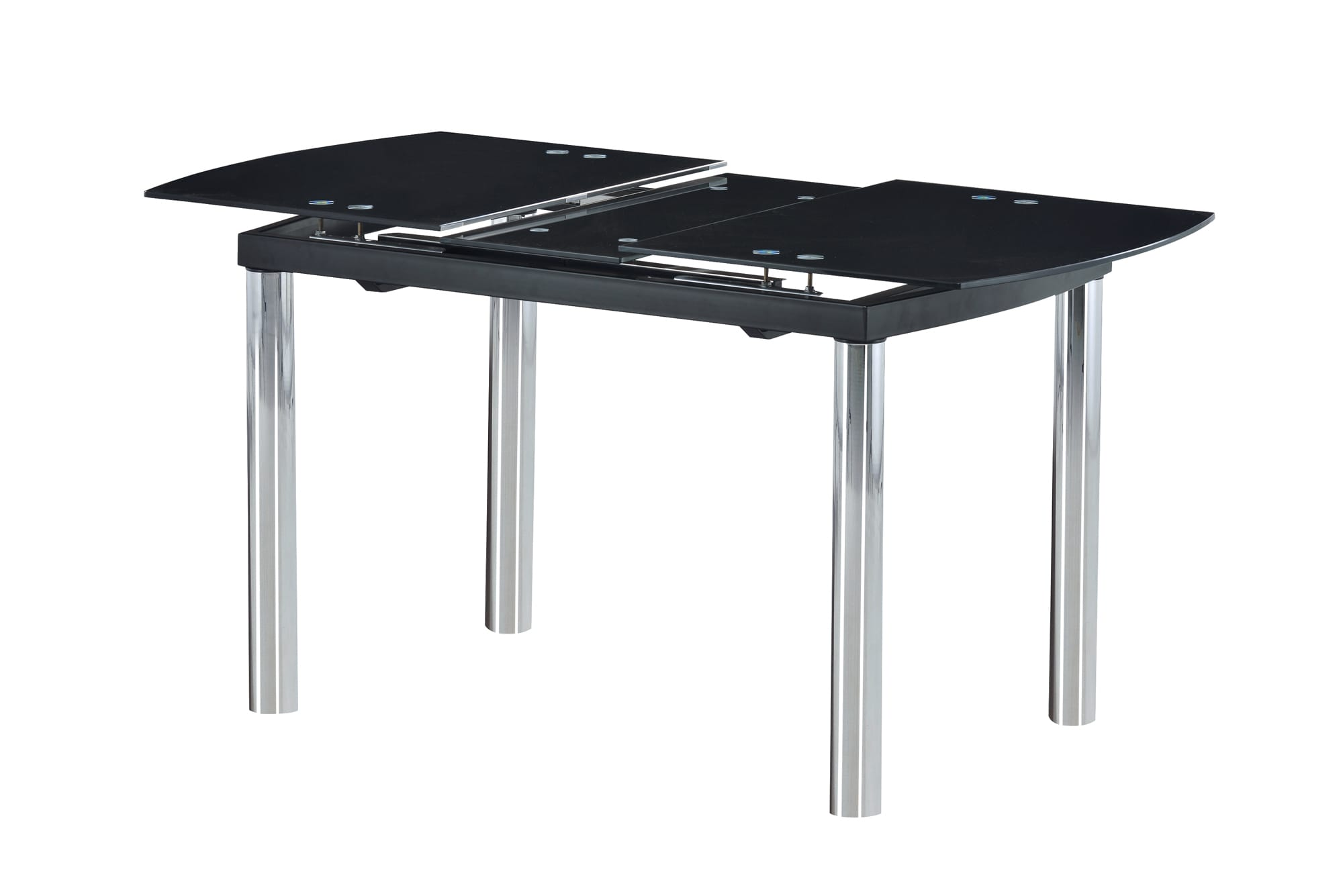 Dining Table D30DT Chrome Black Glass Top