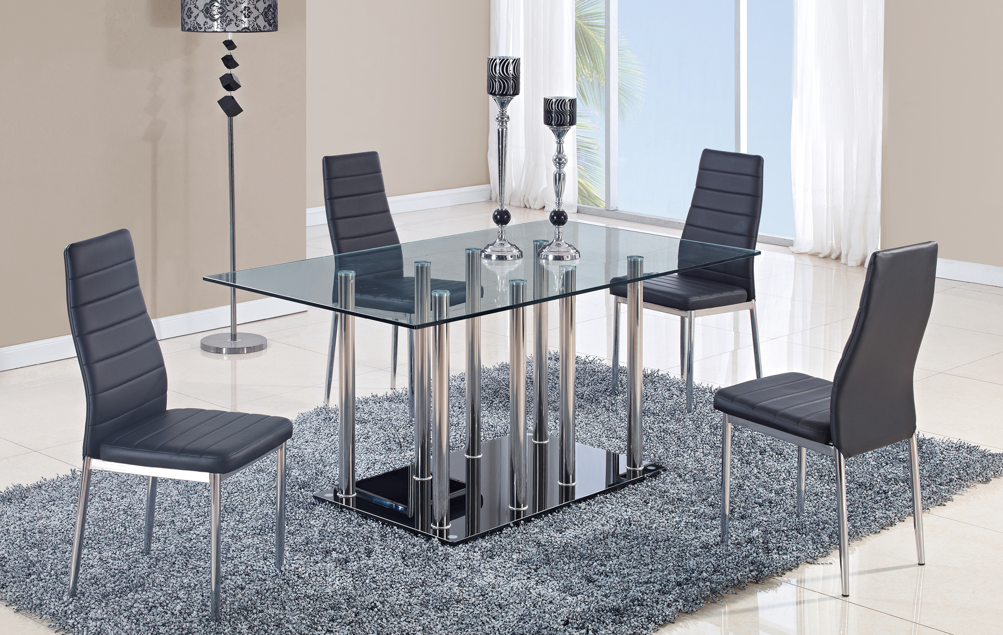 Dining table d368dt stainless black base by global furniture for Epl table 99 00