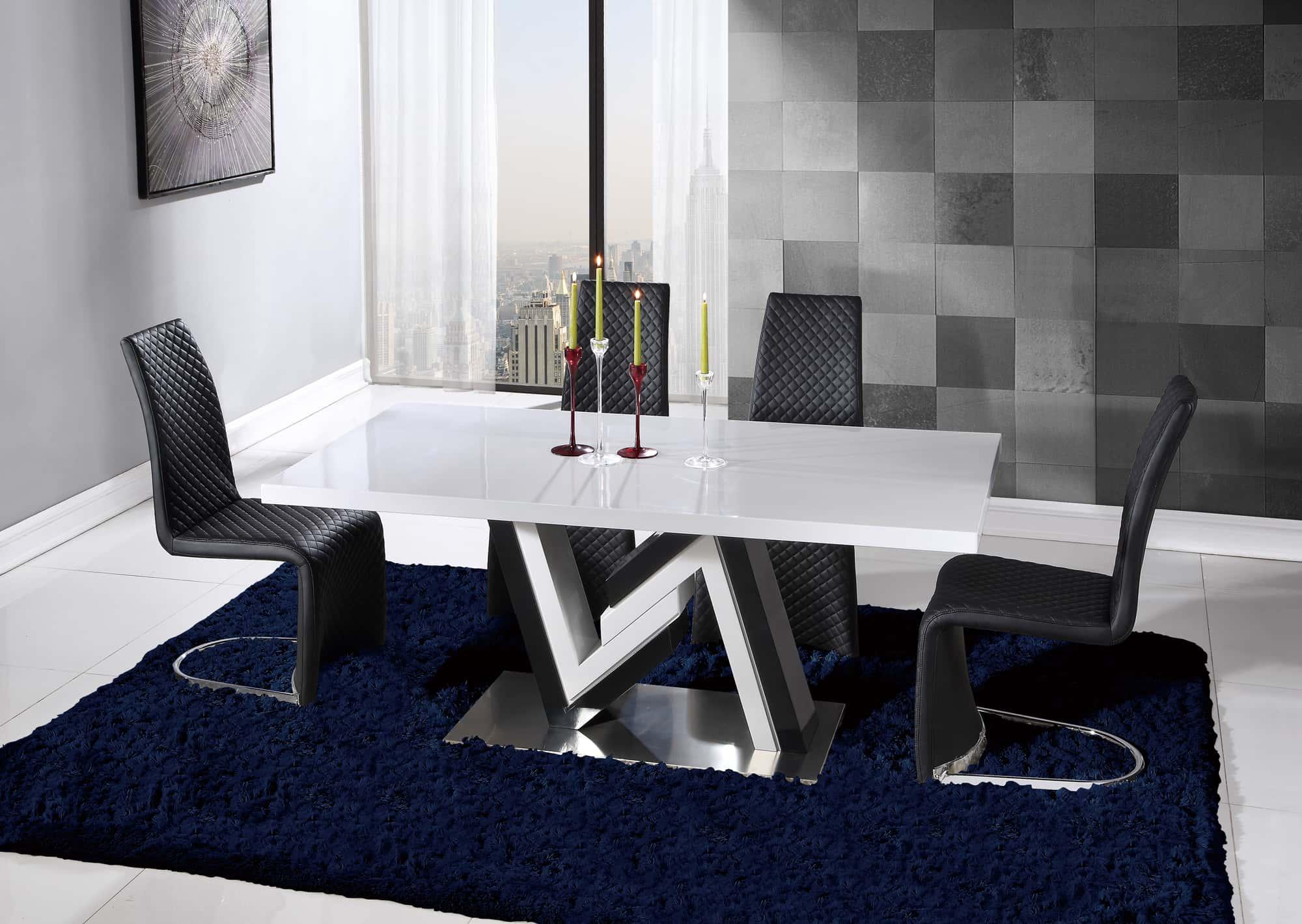 dining table d4163dt black & white hgglobal furniture