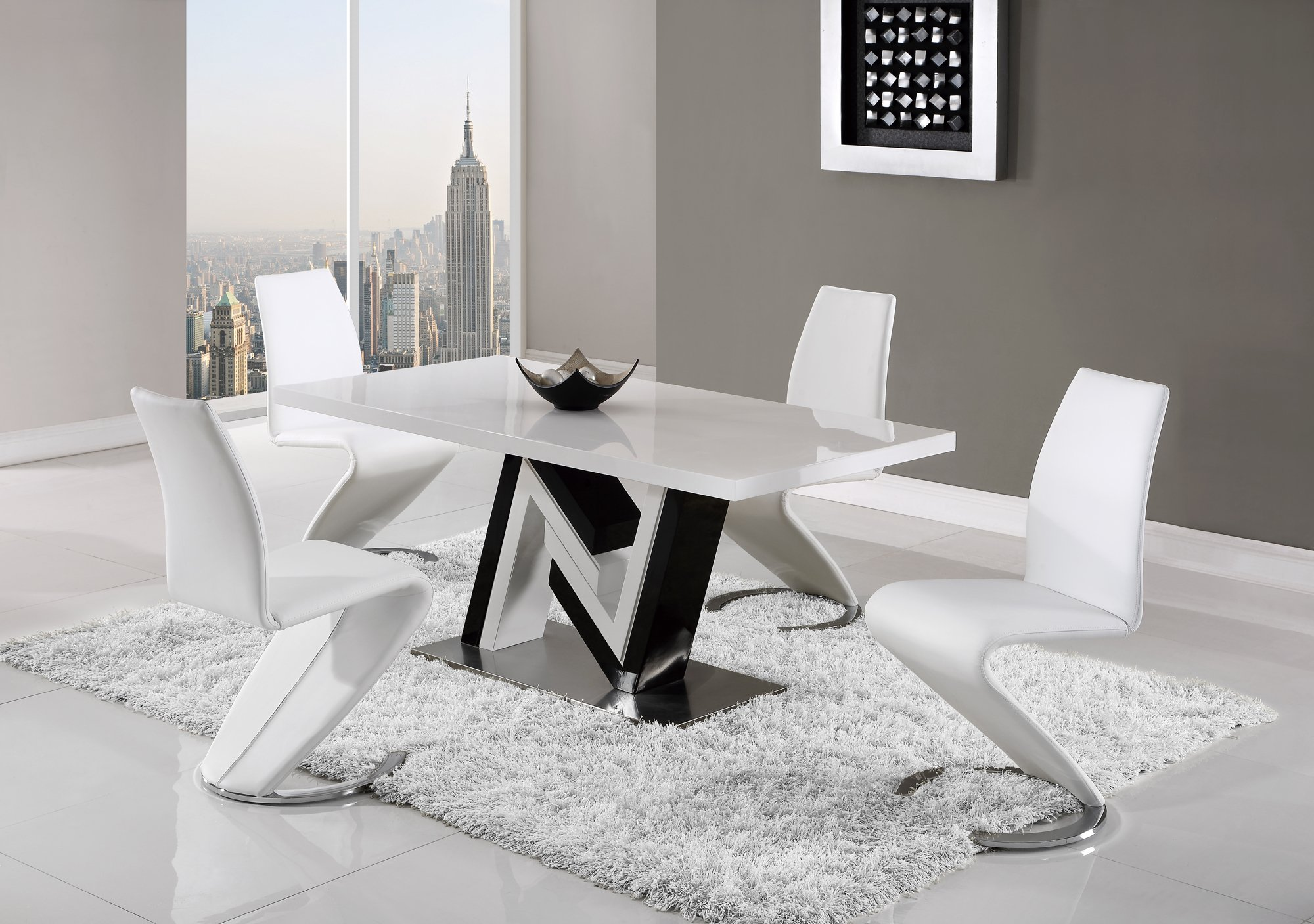 Dining Table D4163dt Black White Hg By Global Furniture