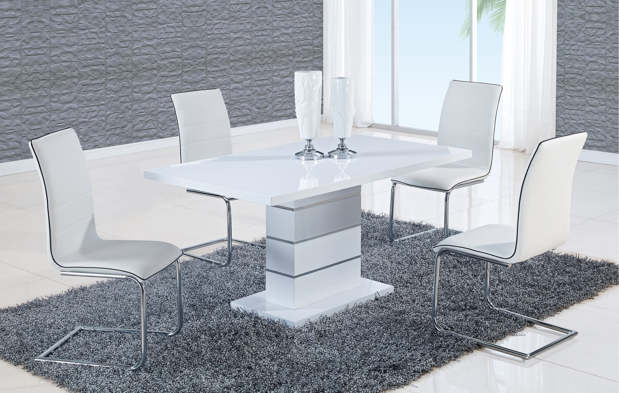 Dining Table D470DT White HG by Global Furniture : D470DTD490DC WH from futonland.com size 2000 x 1269 jpeg 2031kB