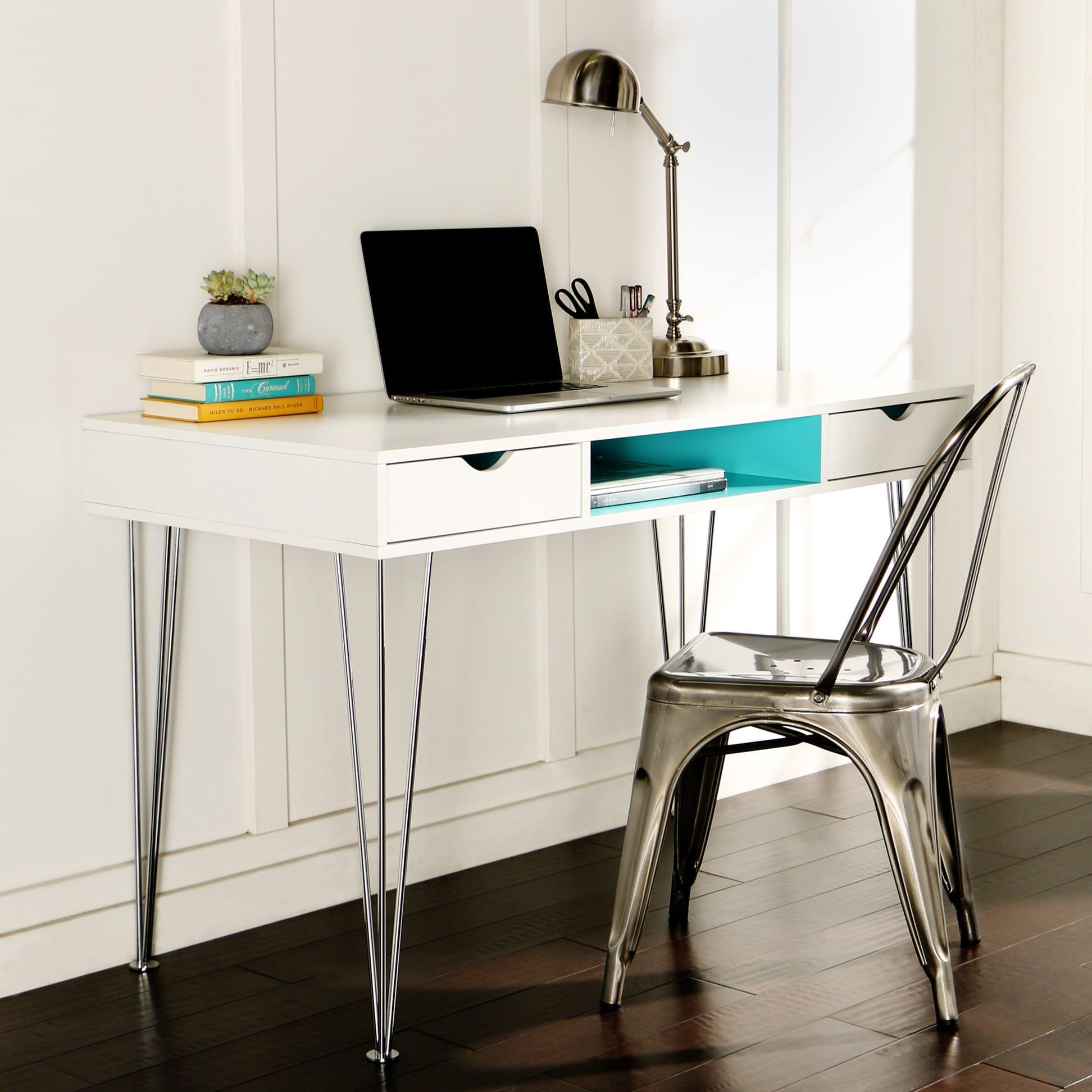 color accent computer desk   aqua blue by walker edison