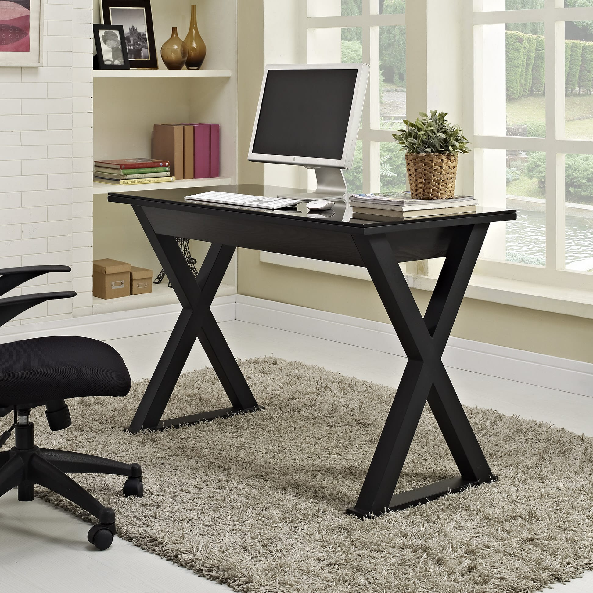 Wondrous Xtra 48 Inch Computer Desk Black By Walker Edison Beutiful Home Inspiration Semekurdistantinfo