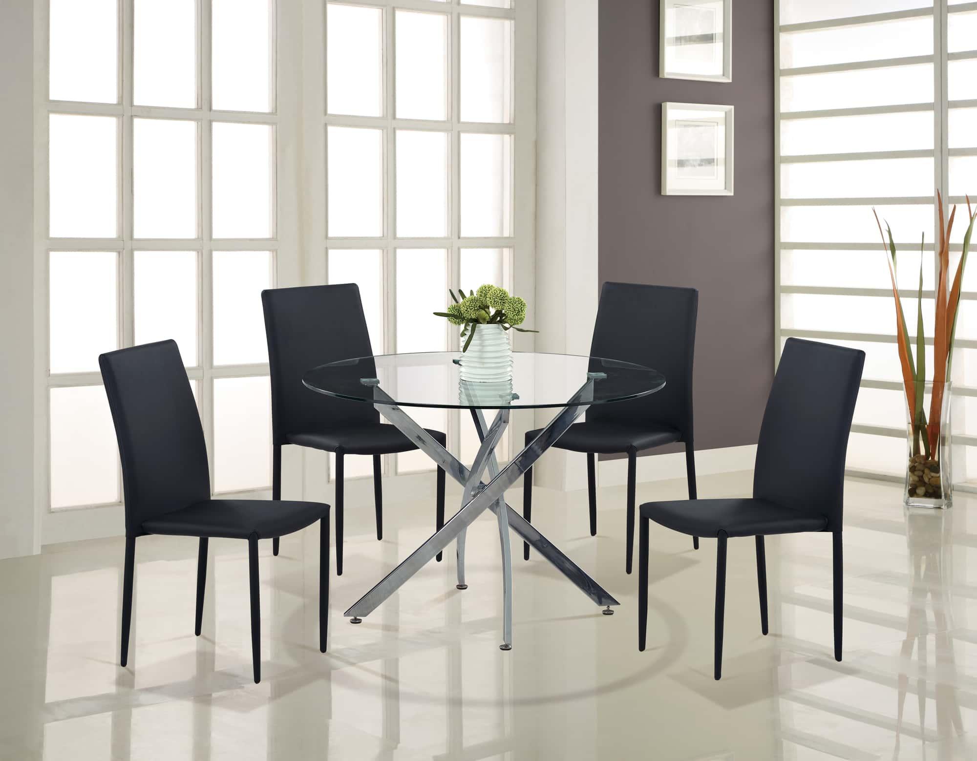 dining table d497dt chrome black pu by global furniture. Black Bedroom Furniture Sets. Home Design Ideas