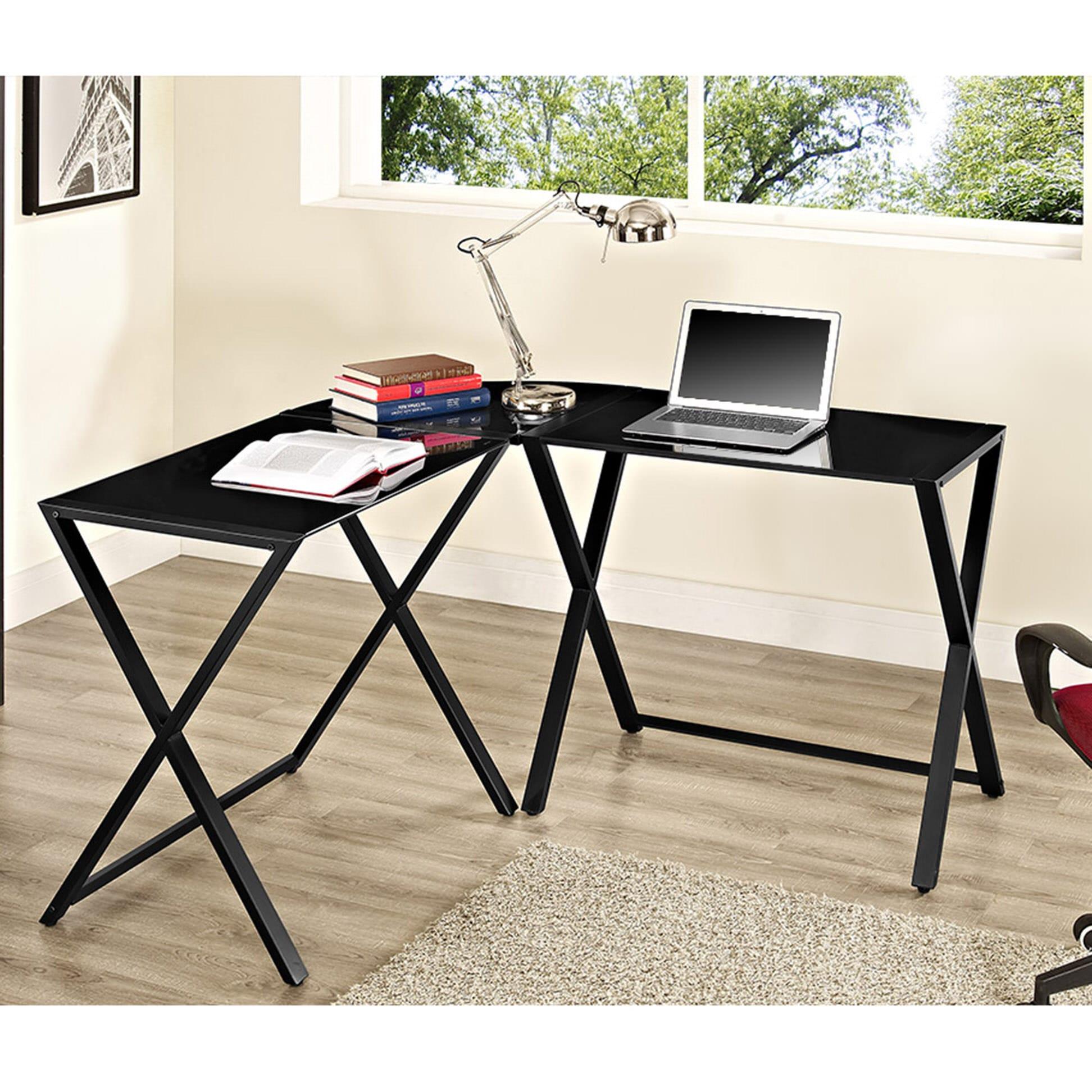 x frame glass metal l shaped computer desk black black by walker edison. Black Bedroom Furniture Sets. Home Design Ideas