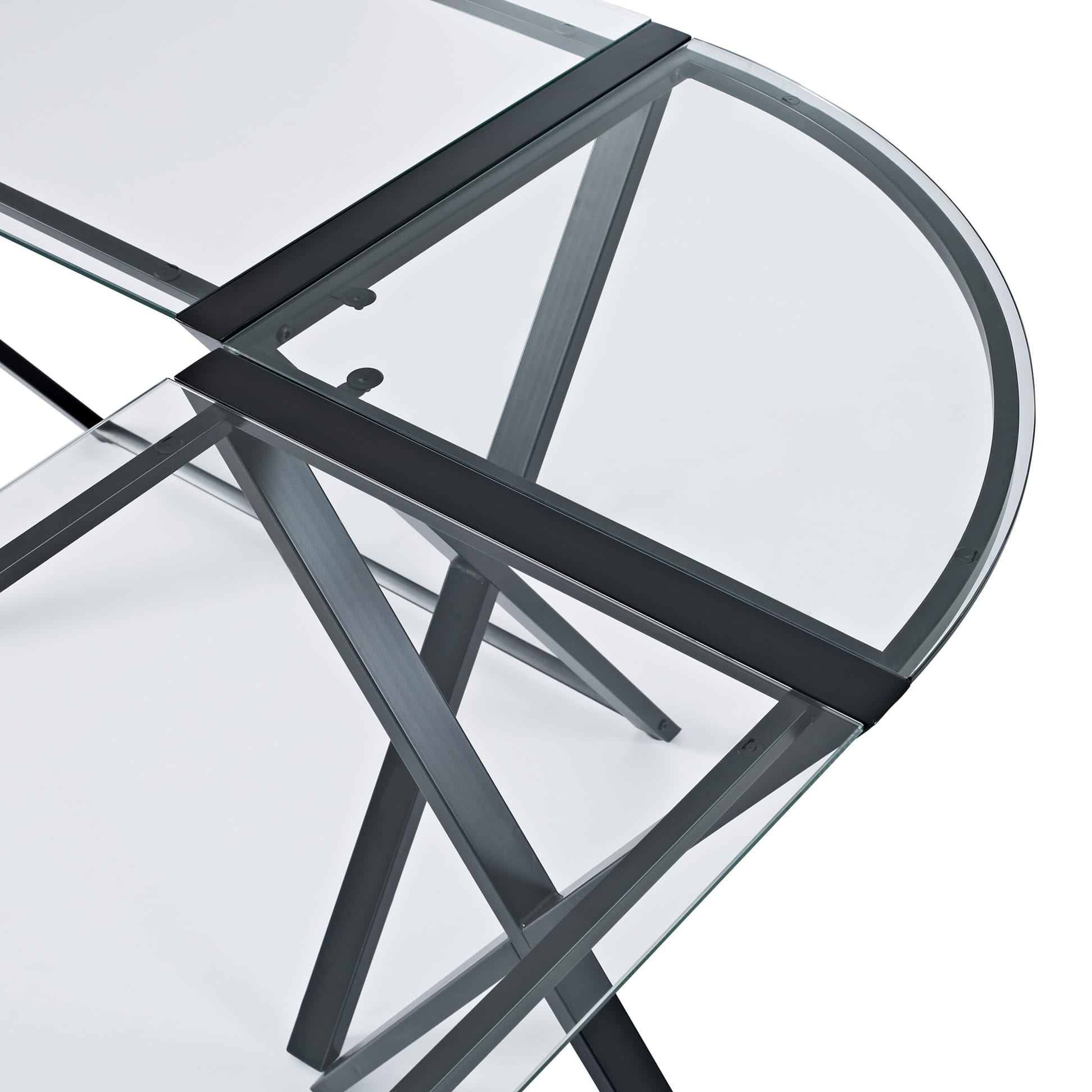 X Frame Glass Amp Metal L Shaped Computer Desk Clear Black