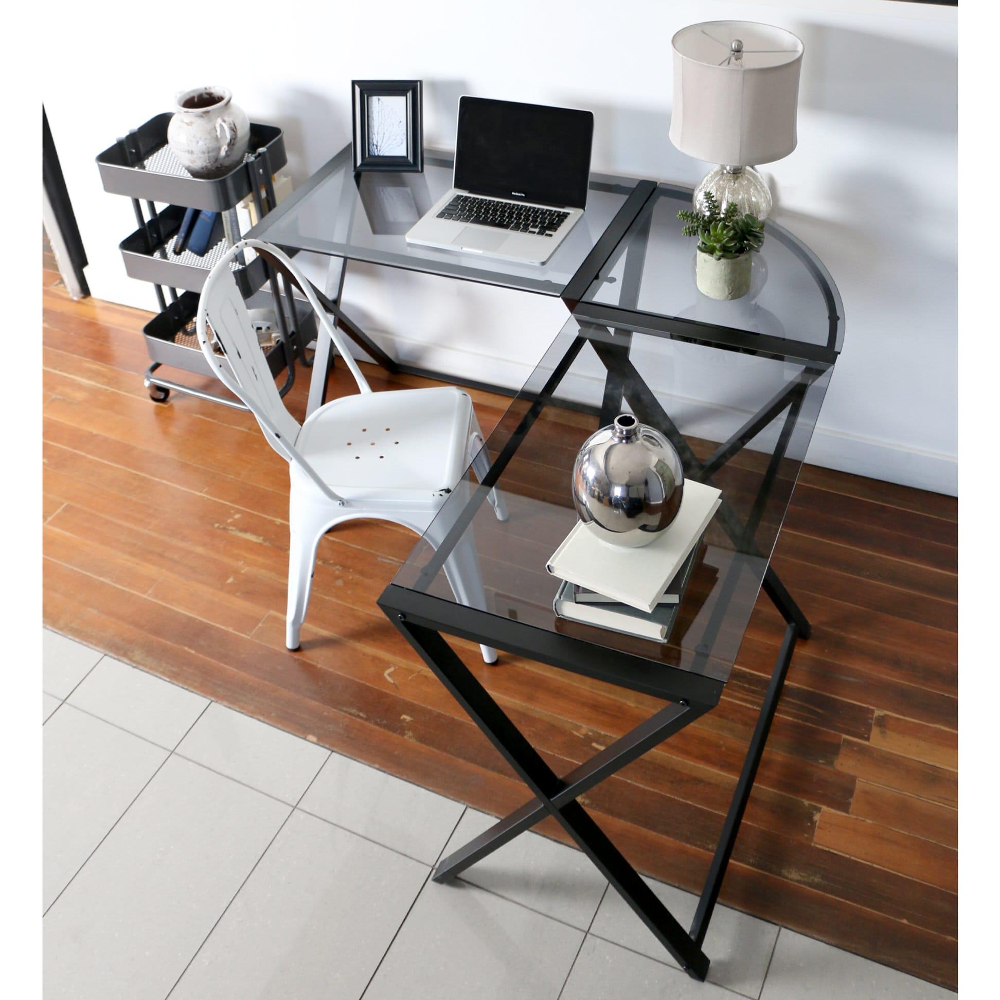 X Frame Glass Metal L Shaped Computer Desk Smoke Black By Walker Edison