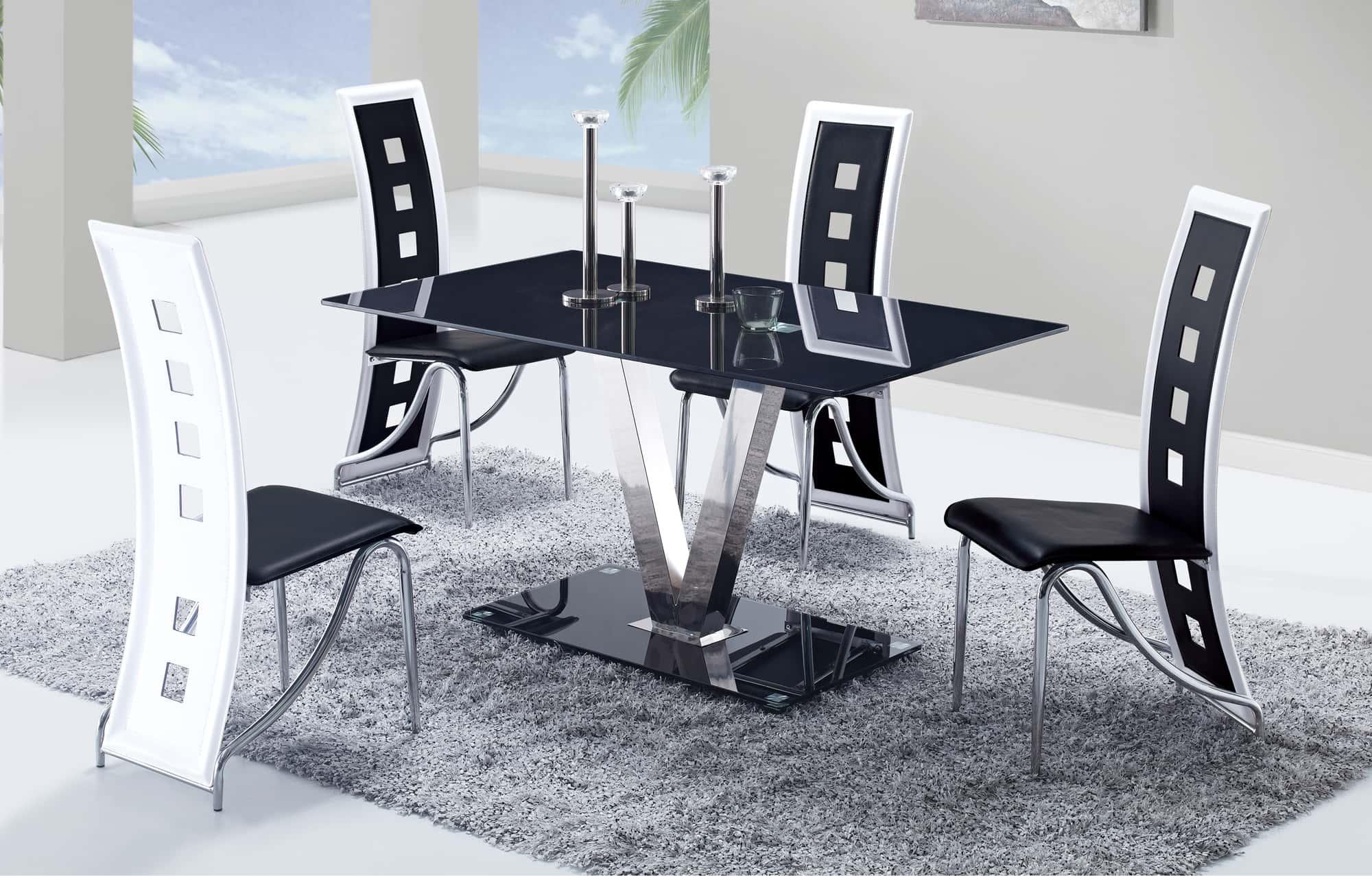 dining table d551dt silver black glass by global furniture. Black Bedroom Furniture Sets. Home Design Ideas