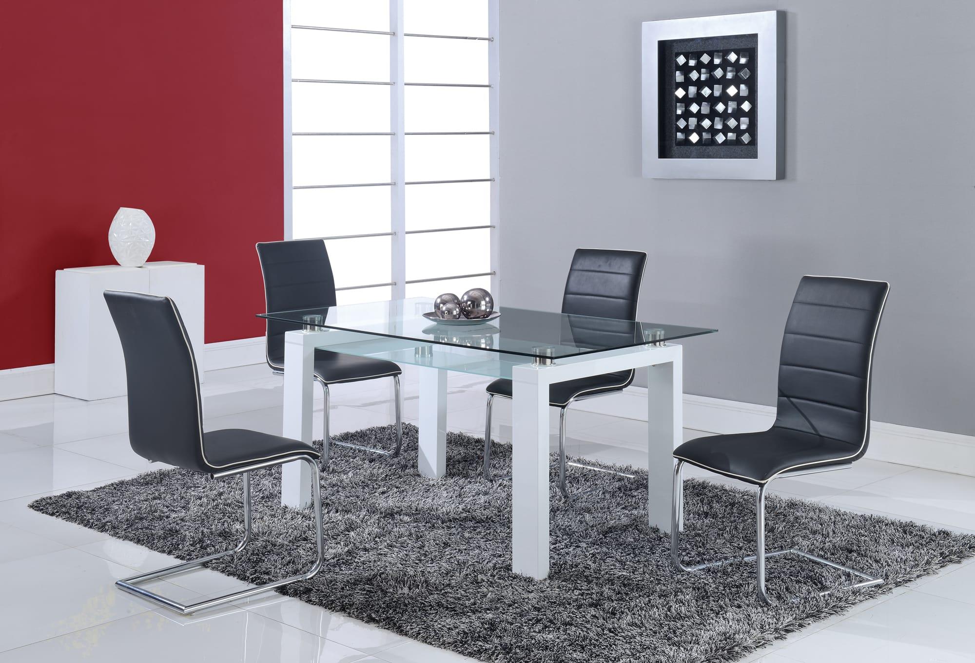 dining table d648dt white by global furniture. Black Bedroom Furniture Sets. Home Design Ideas