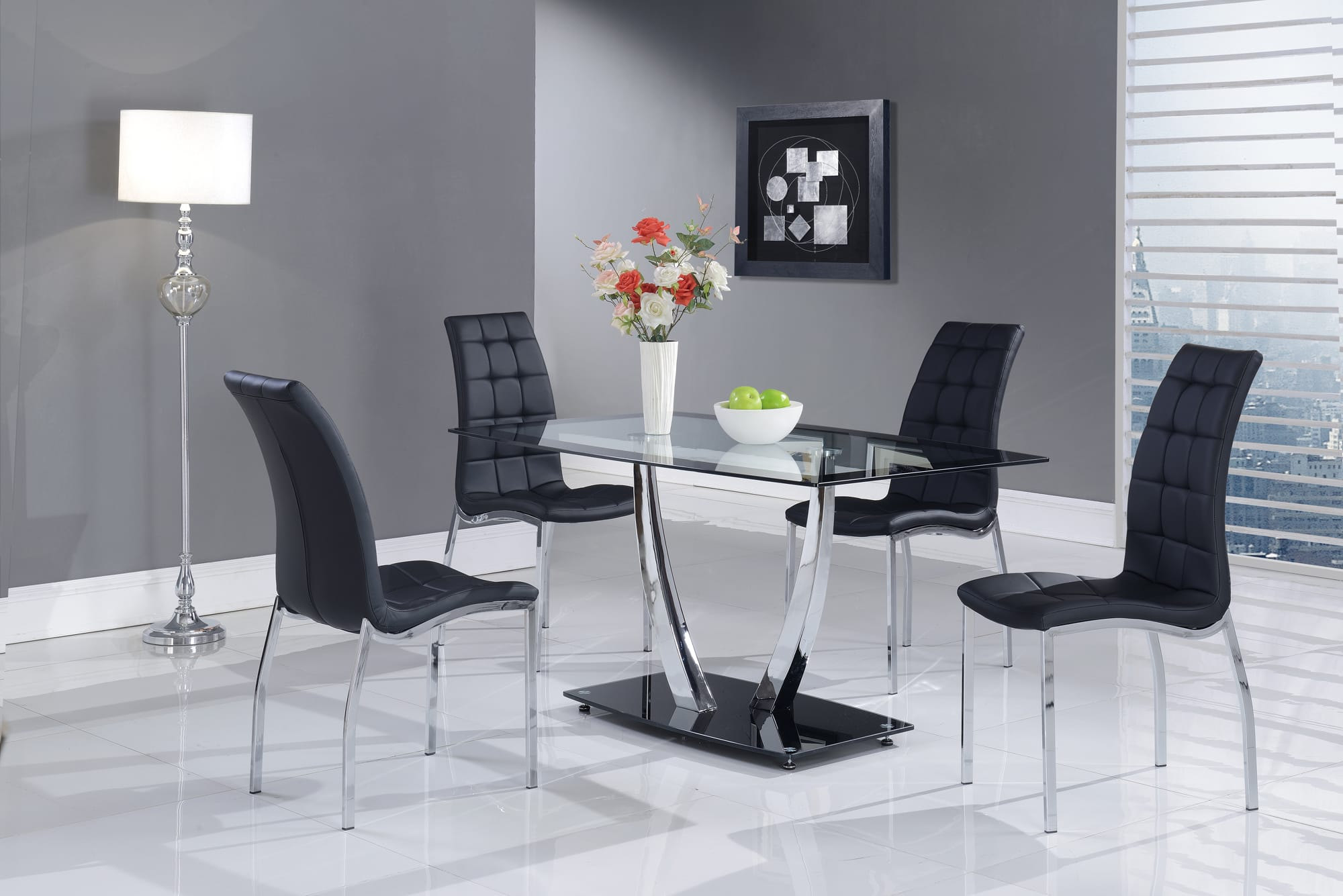 Dining Table D716dt Chrome Black Stripe Glass By Global Furniture