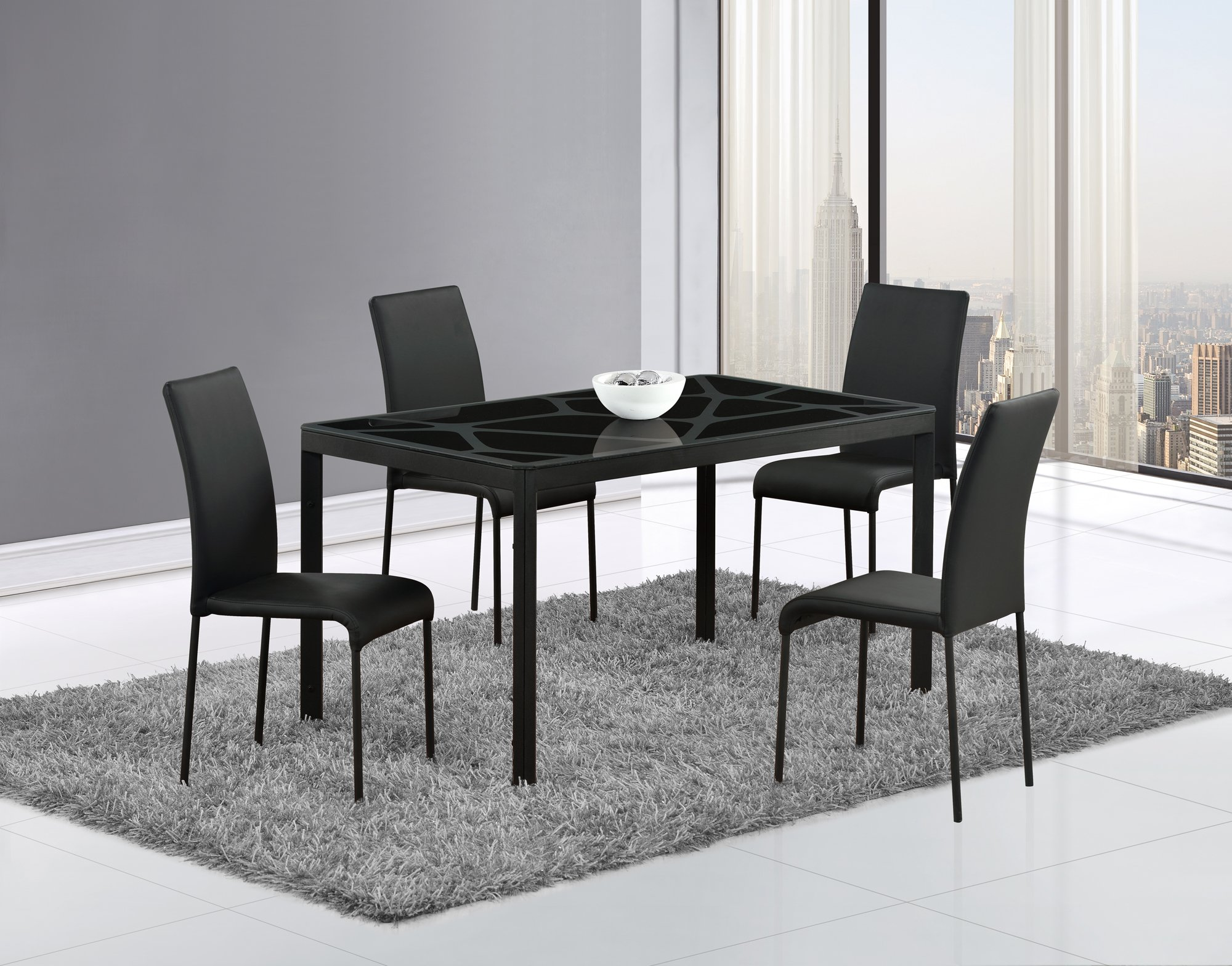 Dining Table D751DT Black Black Glass Top