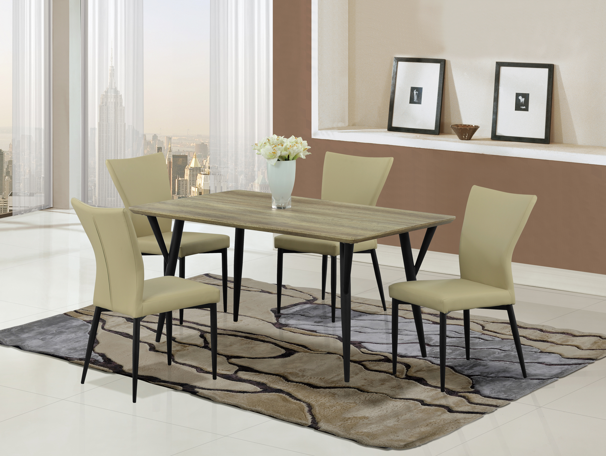 Dining Table D794DT Black Legs Khaki Top By Global Furniture