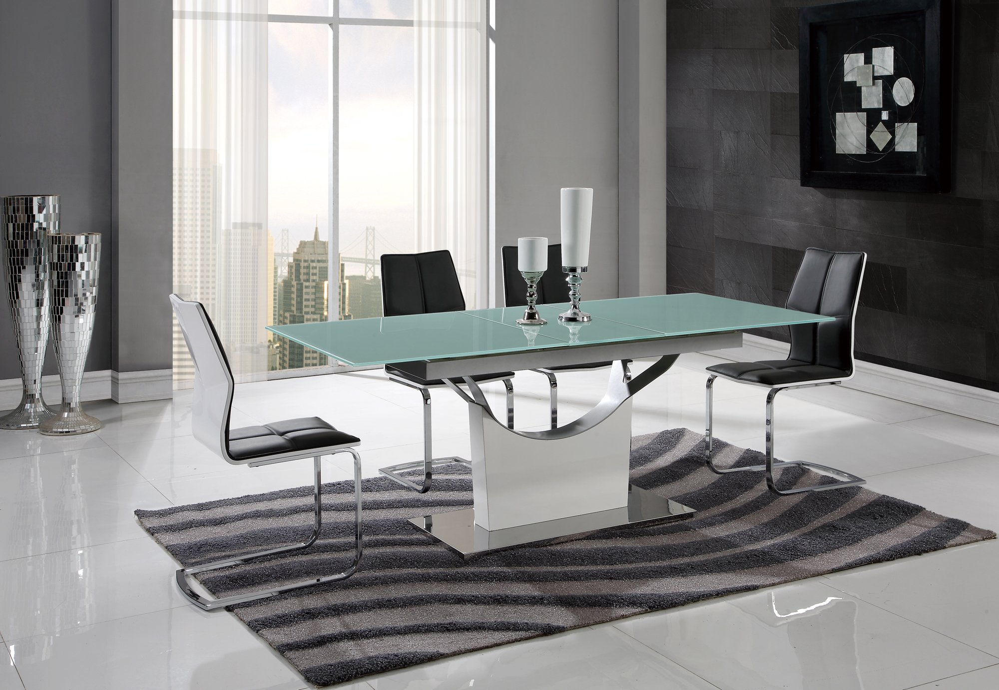 Dining Table D9879DT White HGWhite Glass Top by Global  : D9879DT D8879DT from futonland.com size 2000 x 1382 jpeg 1580kB