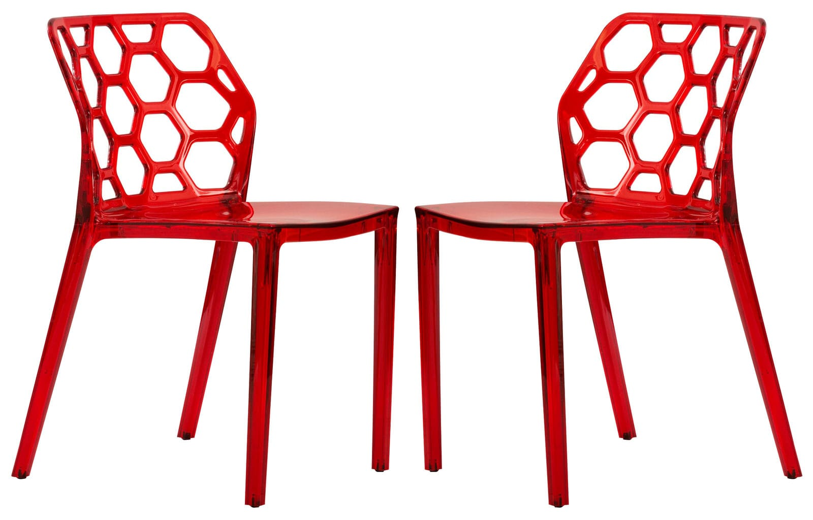 Cool Dynamic Modern Transparent Red Dining Chair Set Of 2 By Leisuremod Pabps2019 Chair Design Images Pabps2019Com