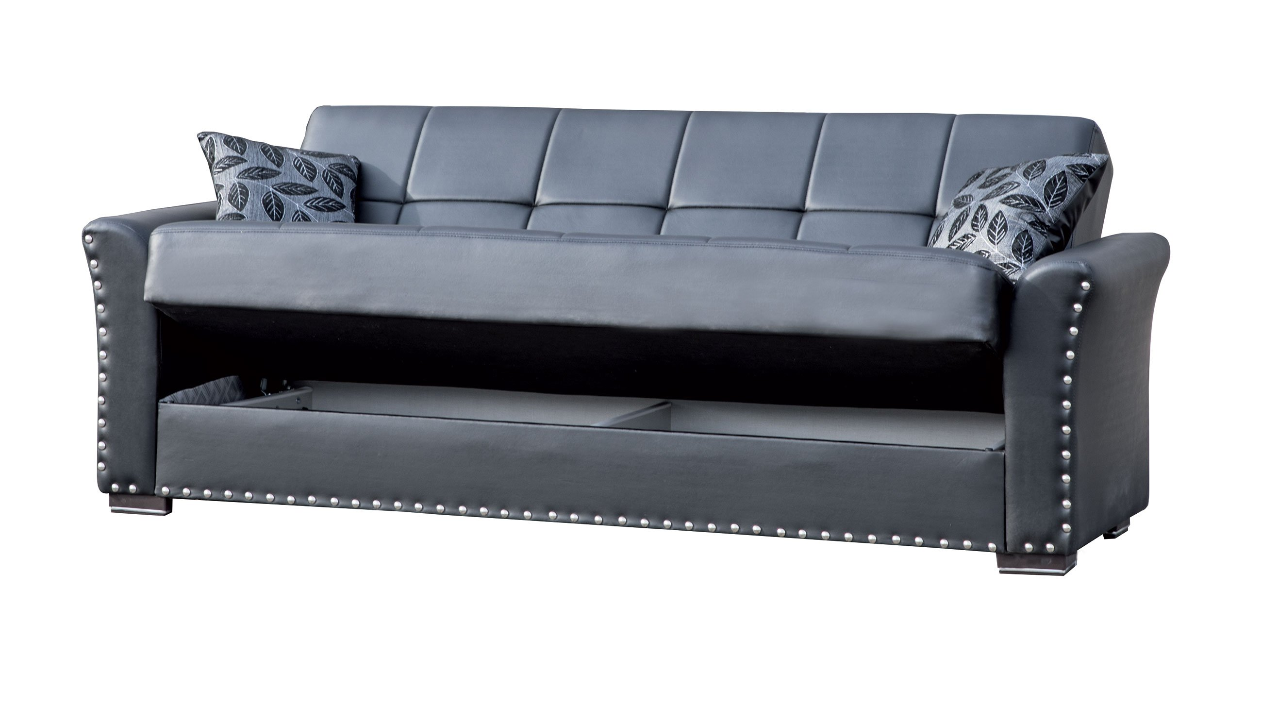 Diva Black PU Leather Convertible Sofa Bed by Casamode