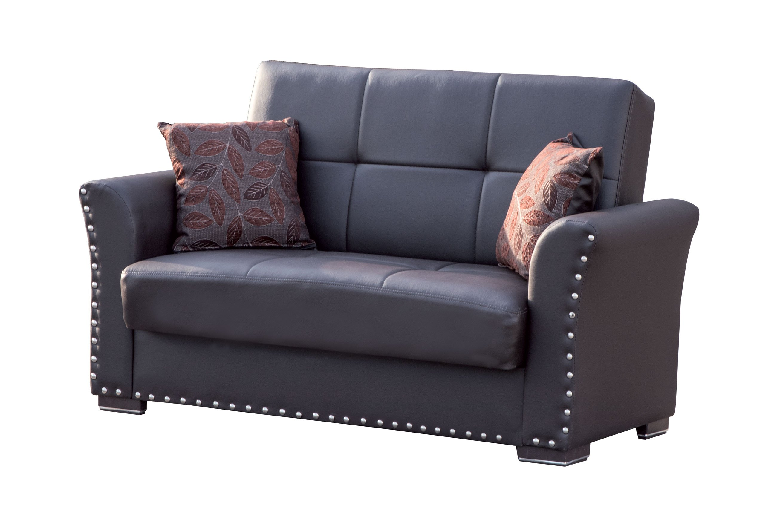 Diva Brown PU Leather Convertible Loveseat by Casamode