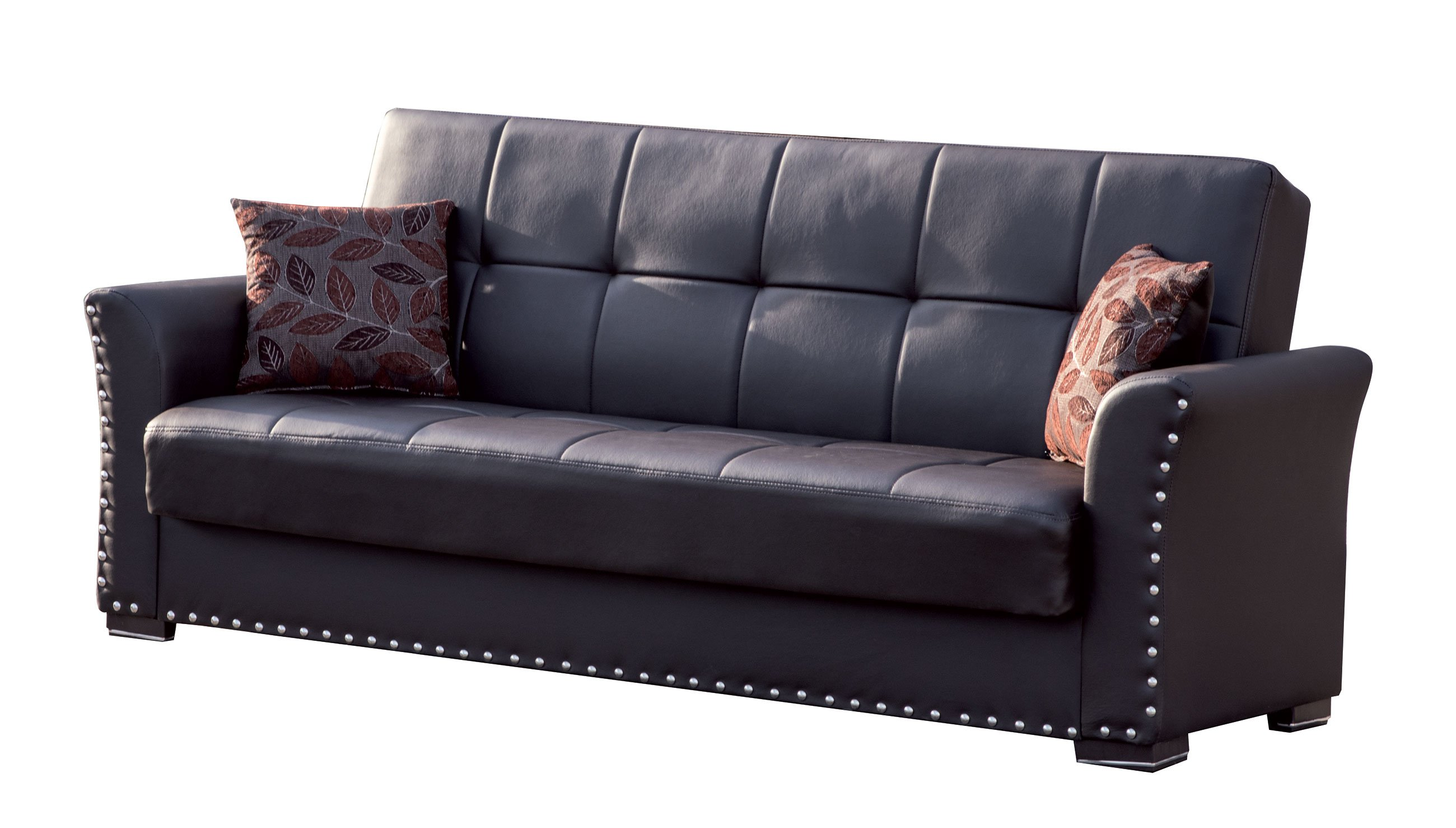 Diva Brown PU Leather Convertible Sofa Bed by Casamode