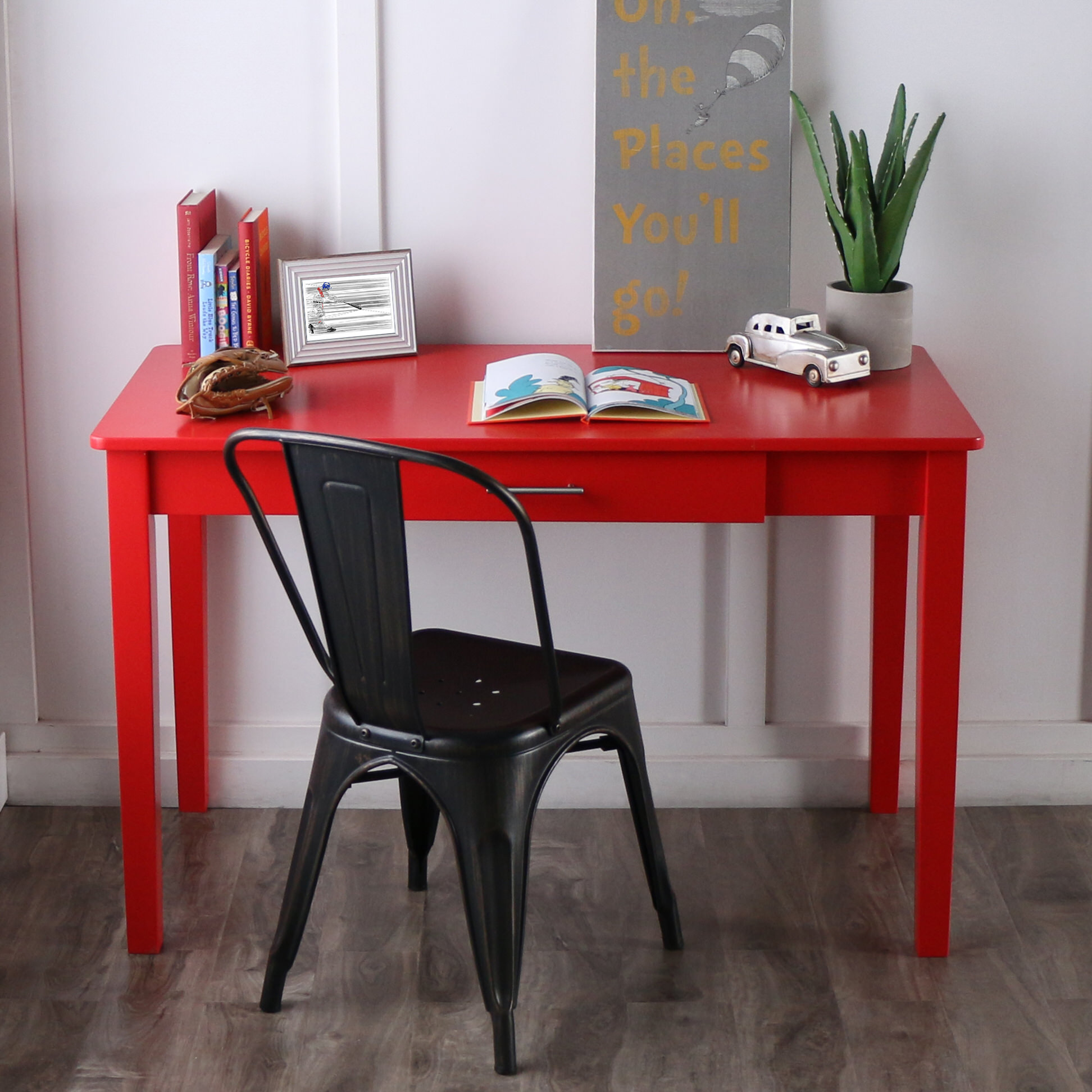 midtown wood writing desk   red by walker edison