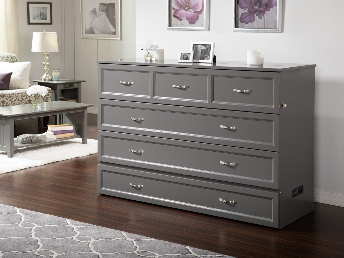 Deerfield Murphy Bed Chest Bed Antique Gray By Atlantic