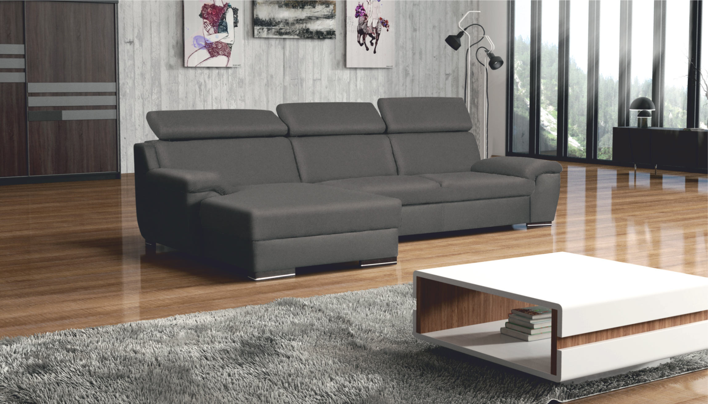 Deluxe Gray Sectional Sofa by Skyler Designs