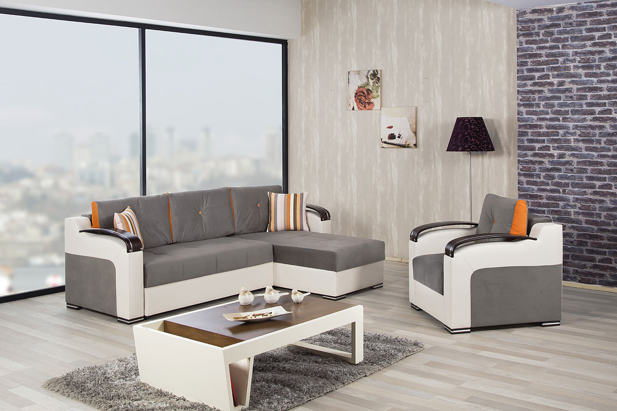 Divan deluxe golf gray sectional sofa by casamode for Divan name meaning