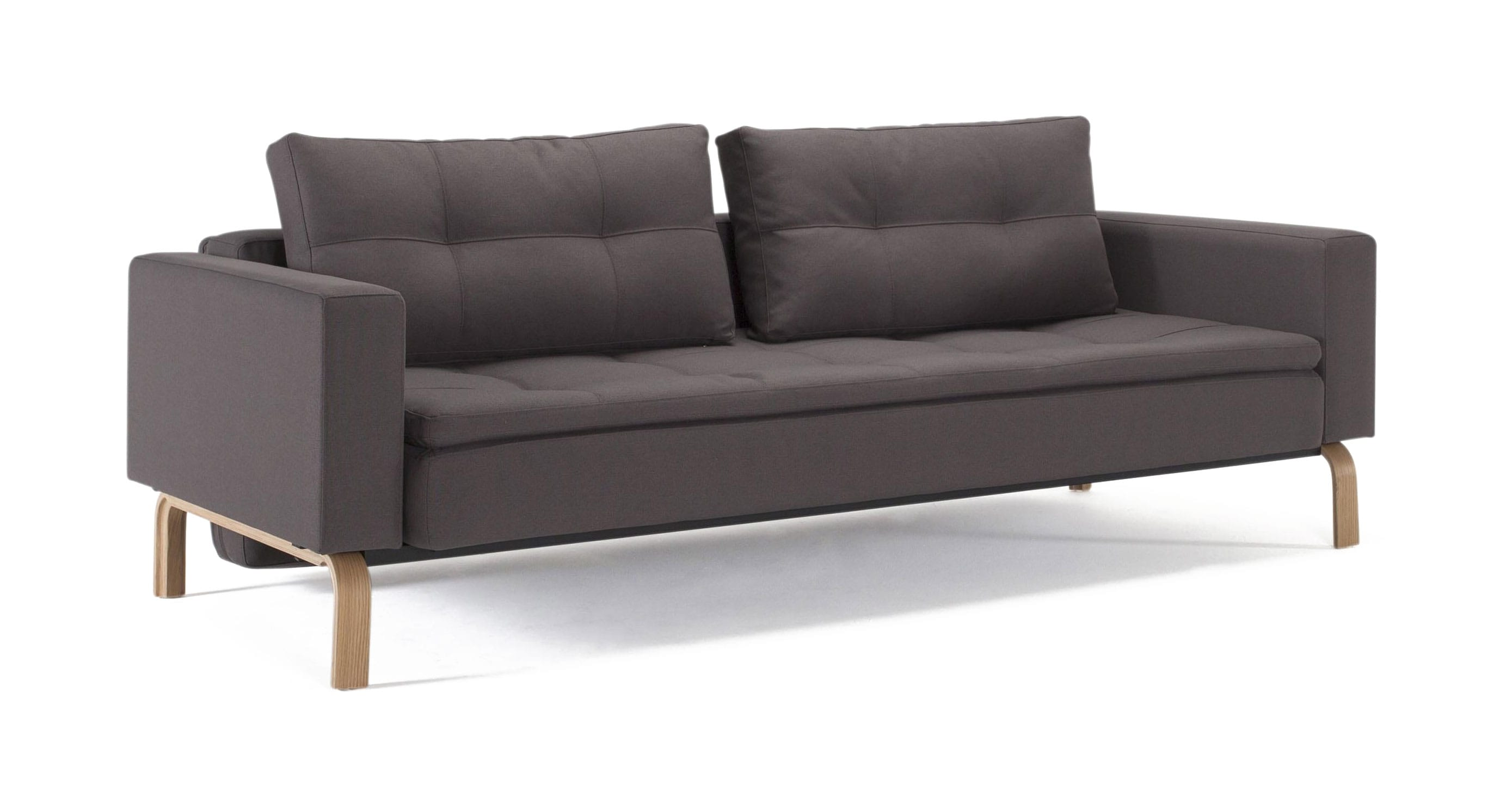 Cassius Dual Sofa Bed w/Arms (Full Size) Soft Gray by Innovation