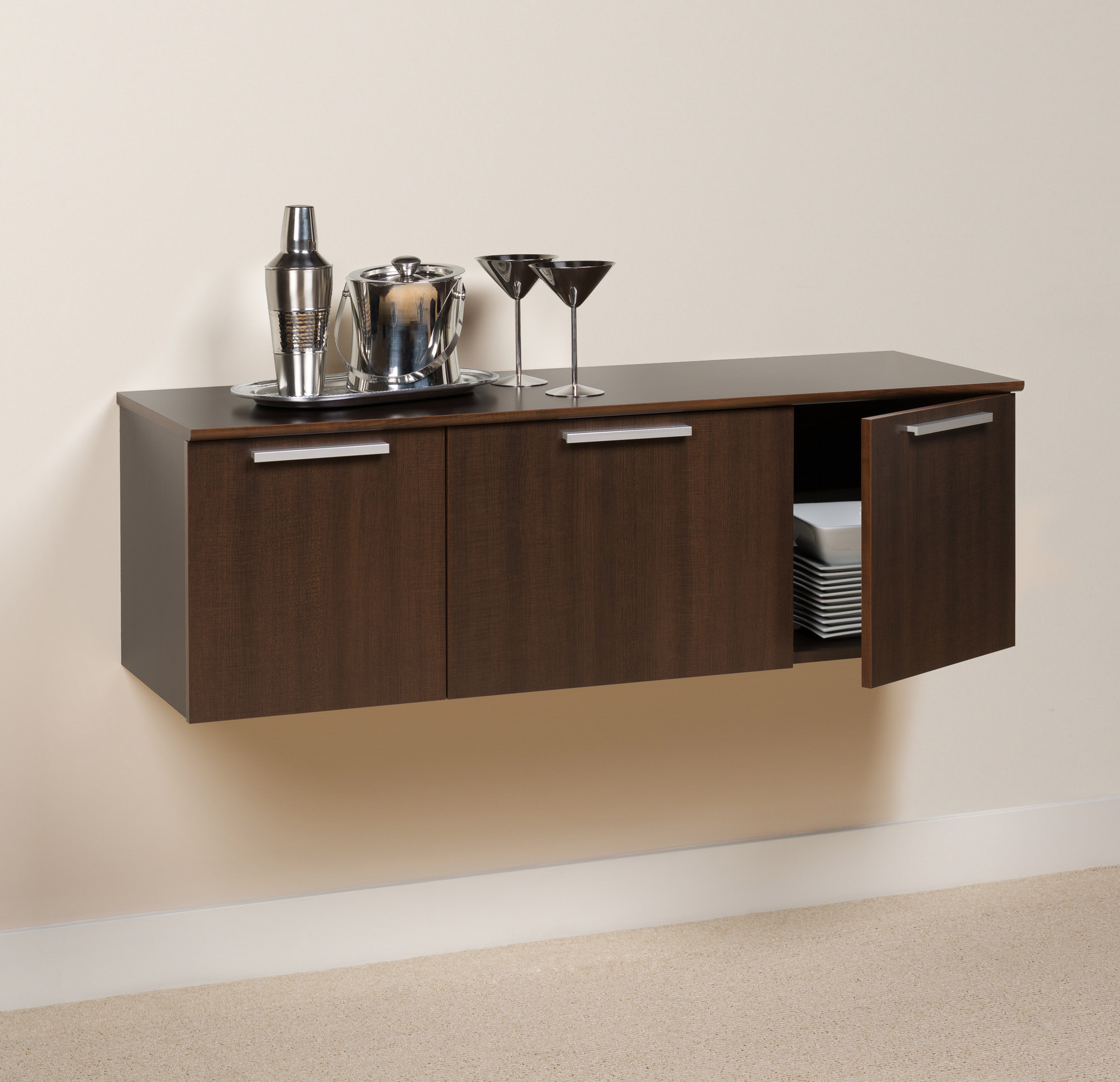 Prepac espresso series 9 wall mounted headboard system with 2 - Coal Harbor Wall Mounted Buffet By Prepac Espresso
