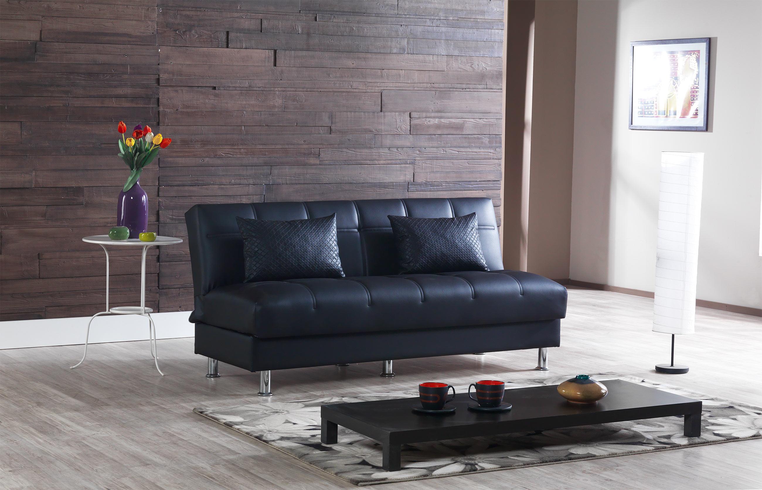 Eco Rest Zen Black Leatherette Sofa By Casamode