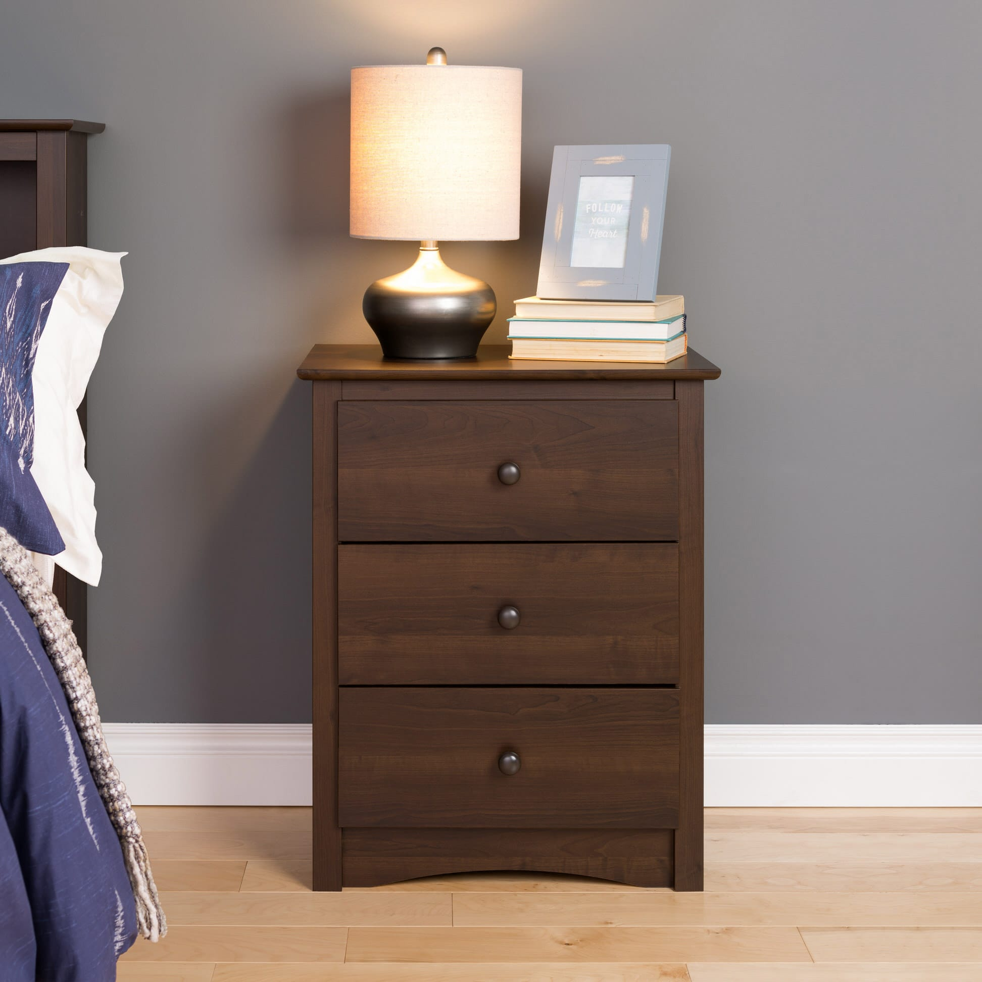 Fremont 3 drawer tall nightstand by prepac for Space saving nightstand