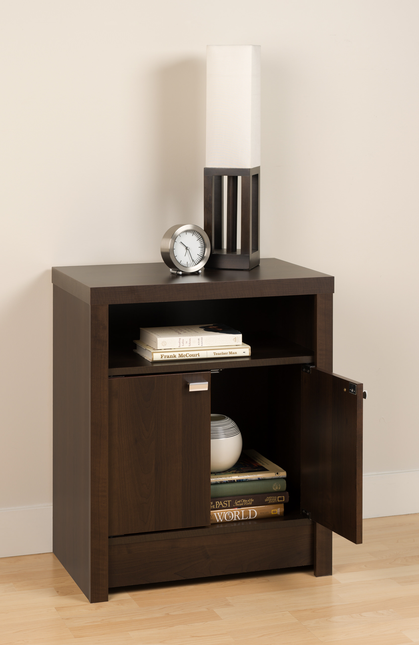 Series 9 designer 2 door tall nightstand by prepac for Tall modern nightstands