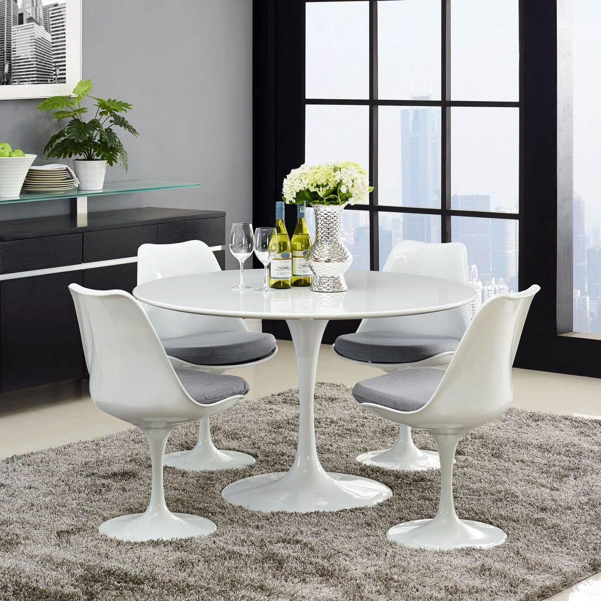 Lippa 47 Inch Round Wood Top Dining Table White By Modern Living